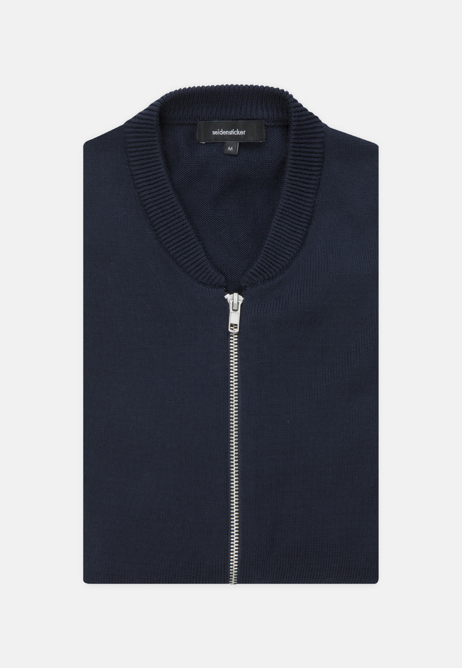 Crew Neck Knit Bomber made of 100% Cotton in navy |  Seidensticker Onlineshop