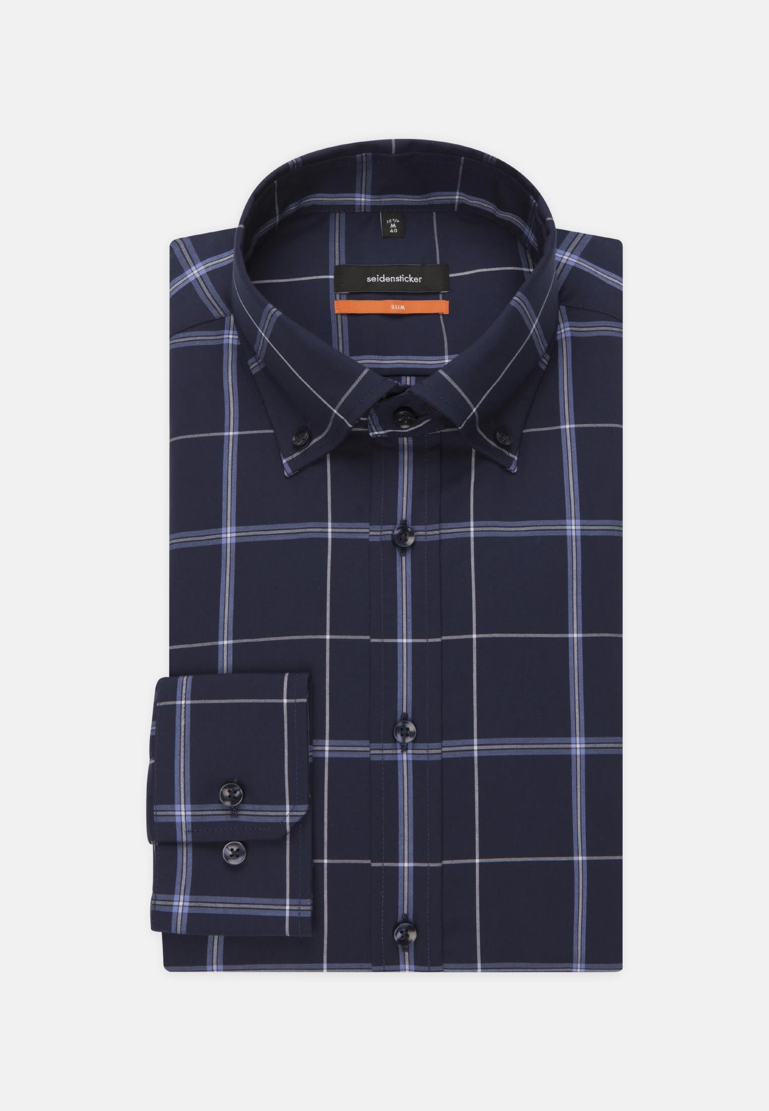 Non-iron Poplin Business Shirt in Slim with Button-Down-Collar in dunkelblau |  Seidensticker Onlineshop
