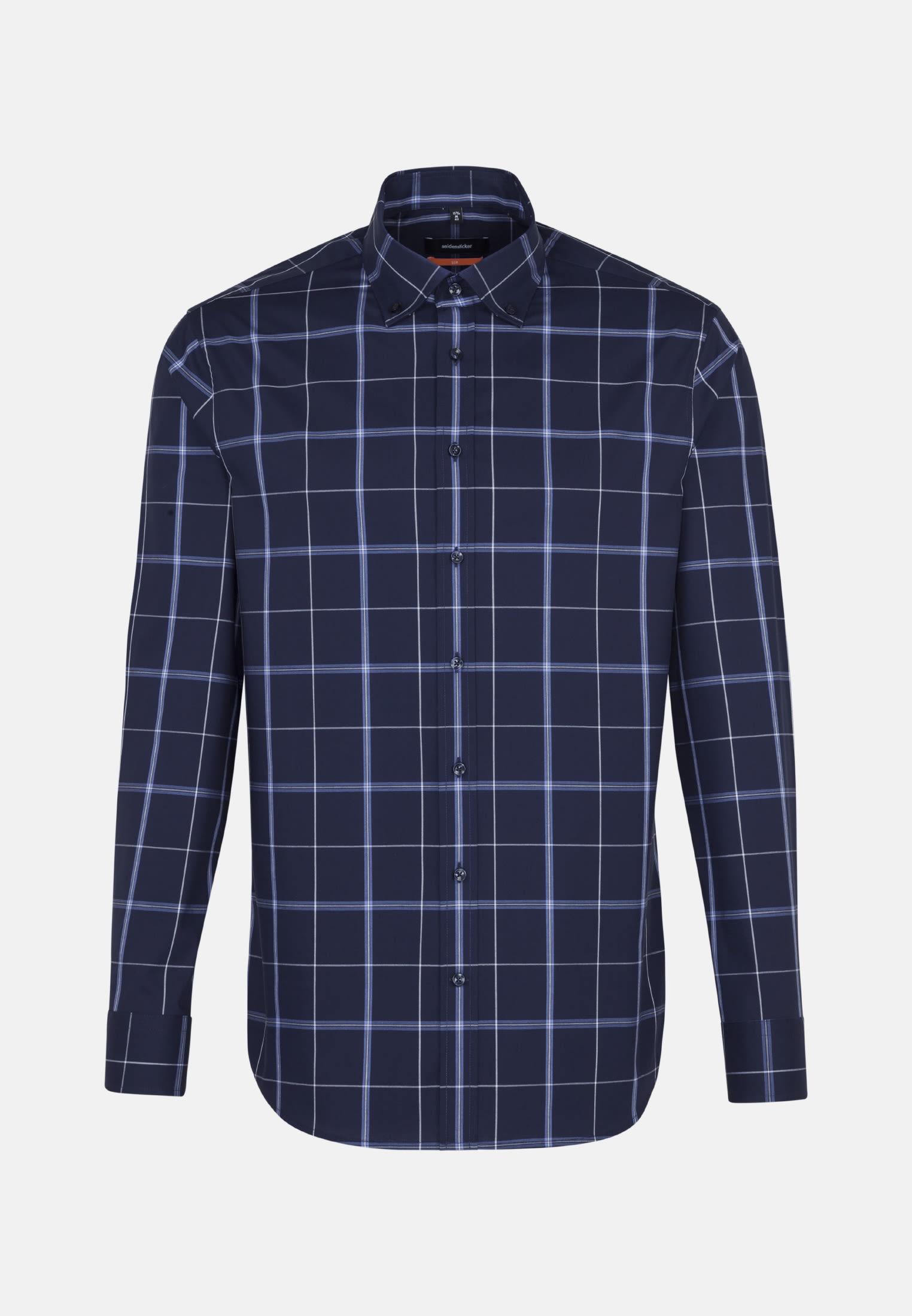 Non-iron Poplin Business Shirt in Slim with Button-Down-Collar in Dark blue |  Seidensticker Onlineshop
