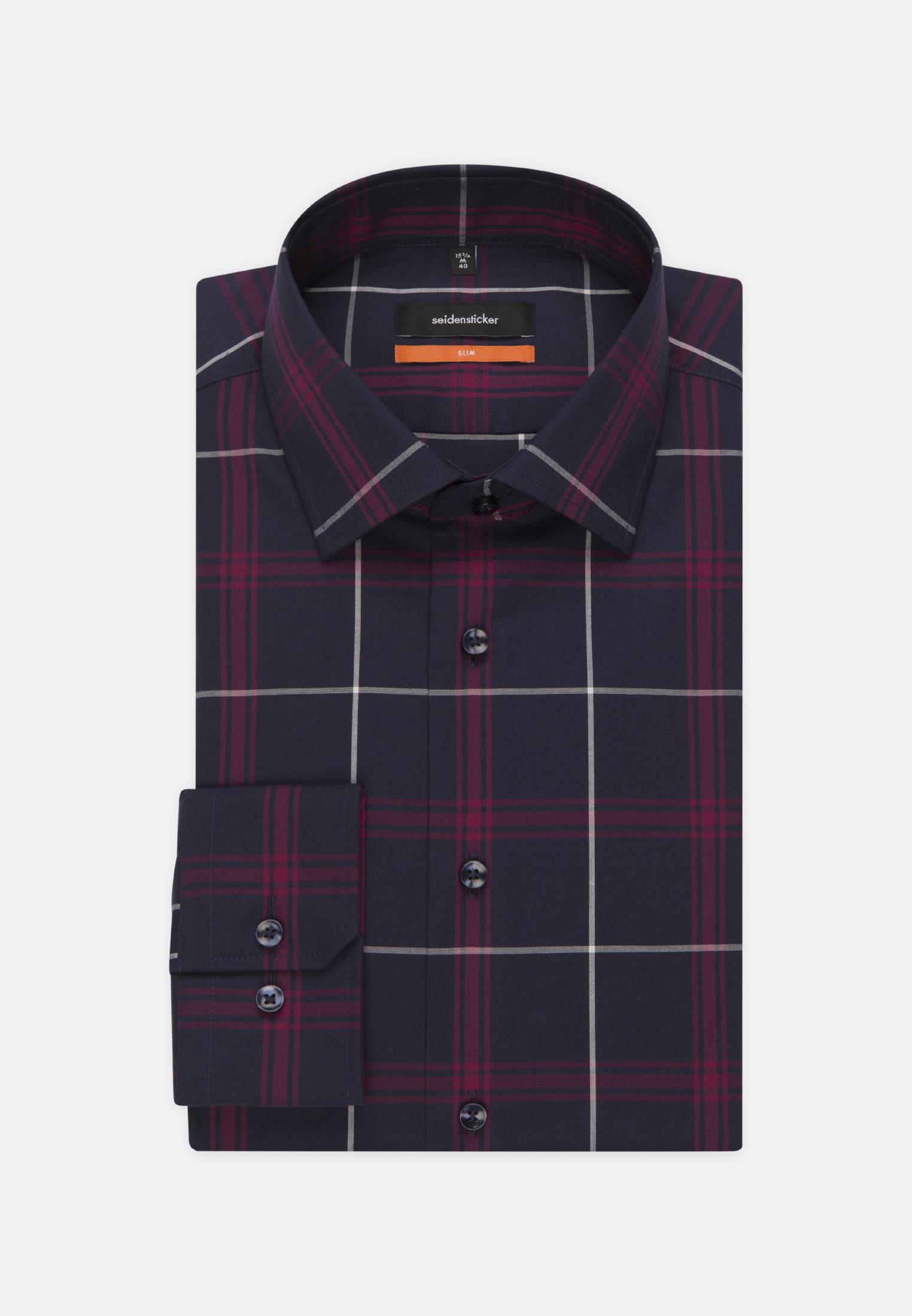Non-iron Poplin Business Shirt in Slim with Kent-Collar in Purpla    Seidensticker Onlineshop