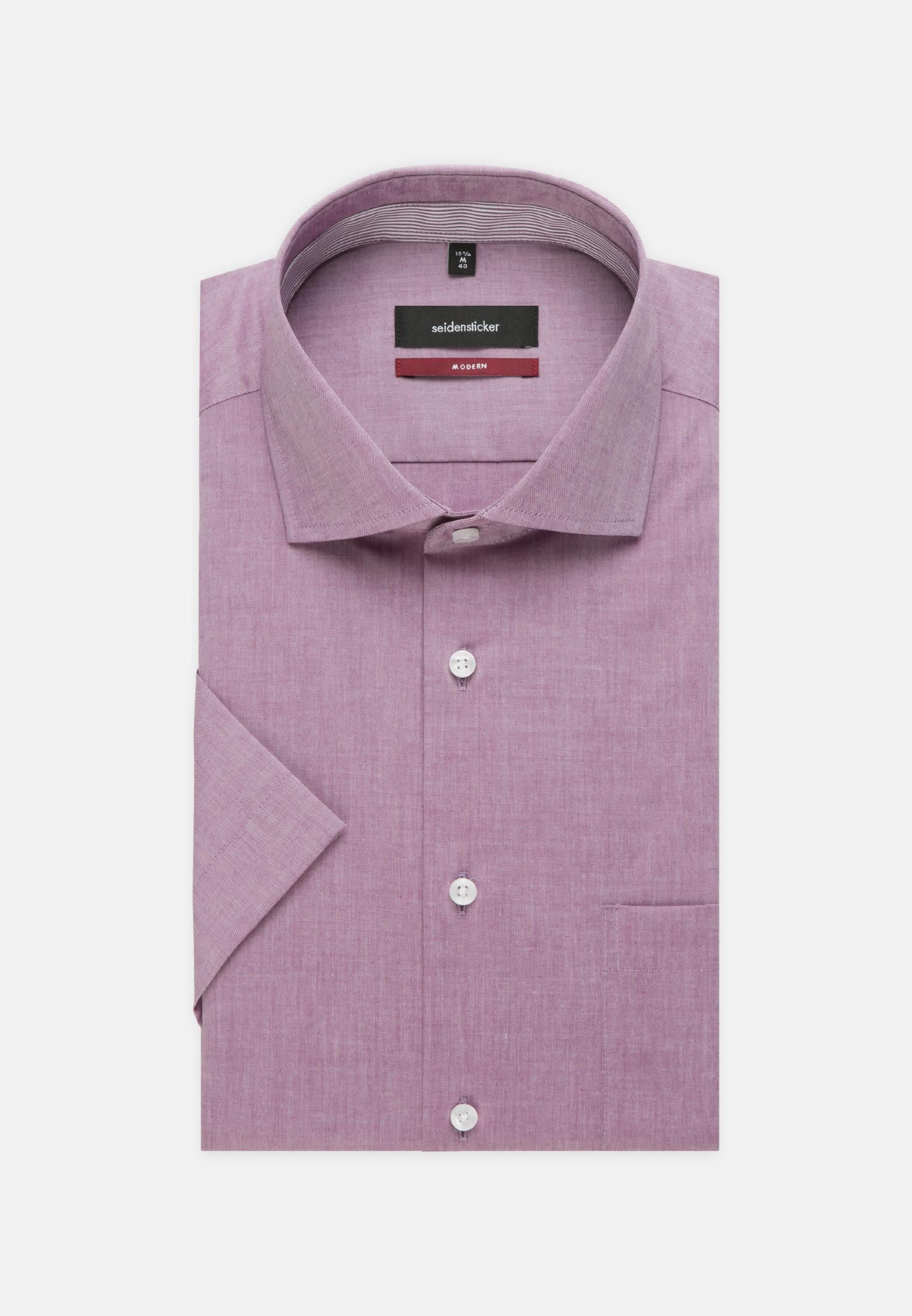 Bügelfreies Chambray Kurzarm Business Hemd in Regular mit Kentkragen in Lila |  Seidensticker Onlineshop