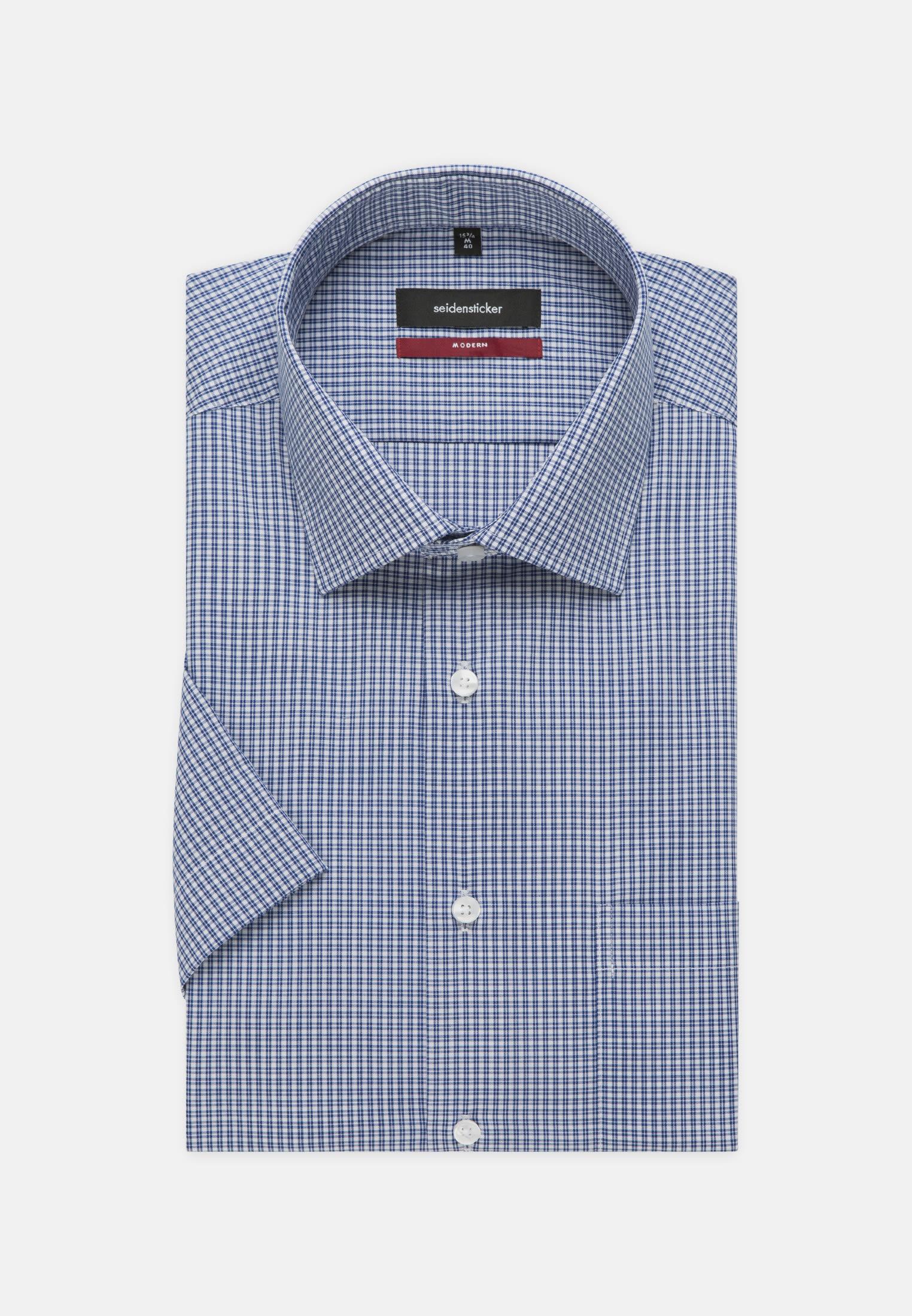 Non-iron Poplin Short arm Business Shirt in Modern with Kent-Collar in Medium blue |  Seidensticker Onlineshop