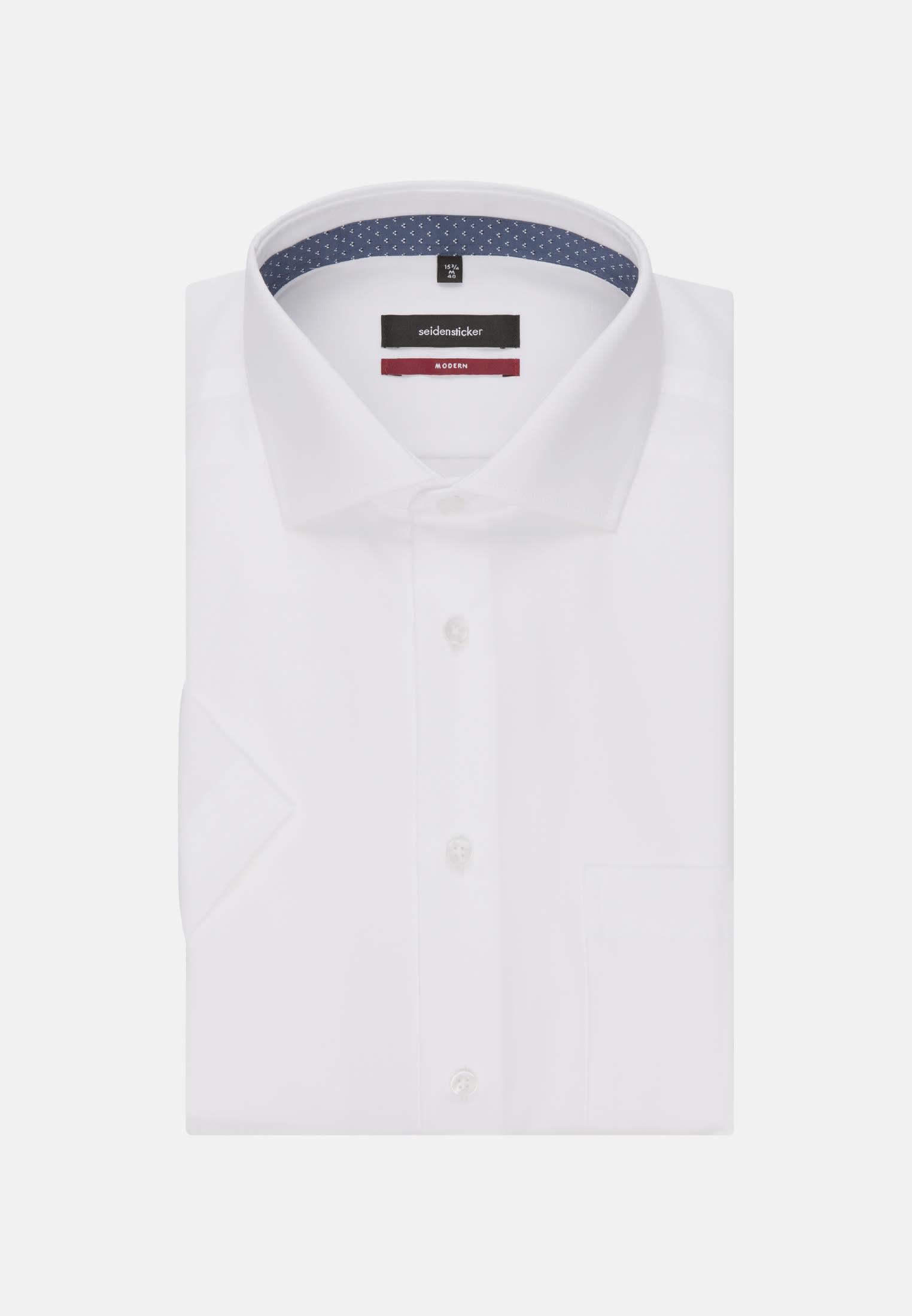 Non-iron Poplin Short arm Business Shirt in Modern with Kent-Collar in White    Seidensticker Onlineshop