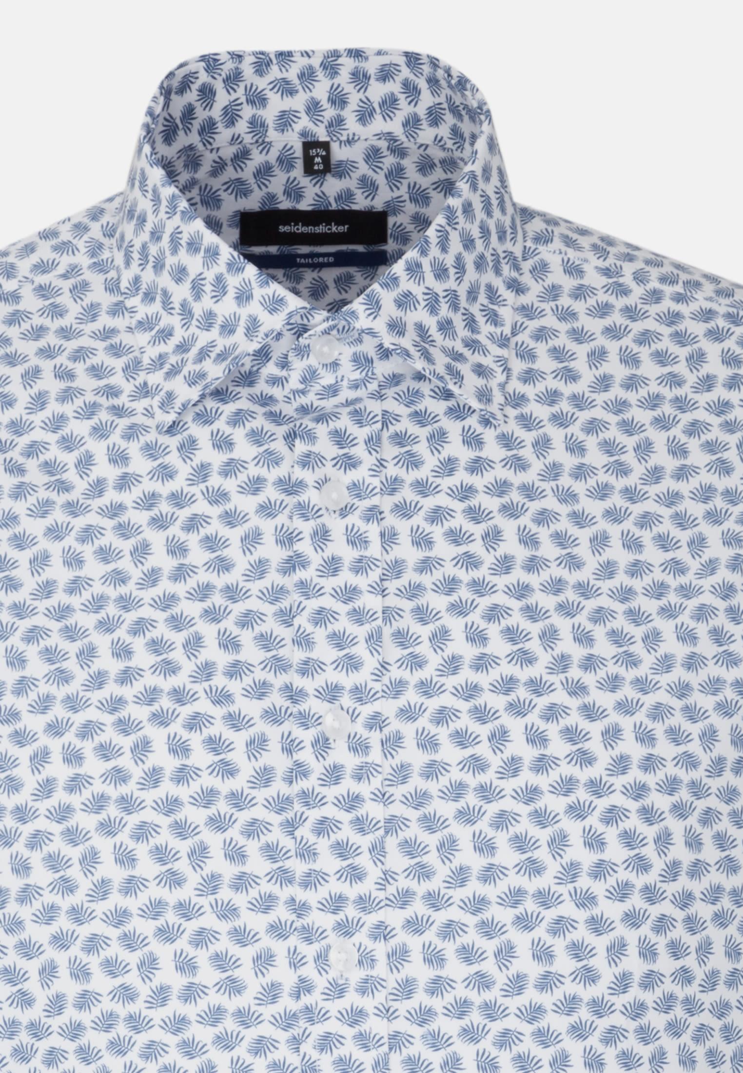 Bügelleichtes Popeline Business Hemd in Shaped mit Covered-Button-Down-Kragen in Mittelblau    Seidensticker Onlineshop