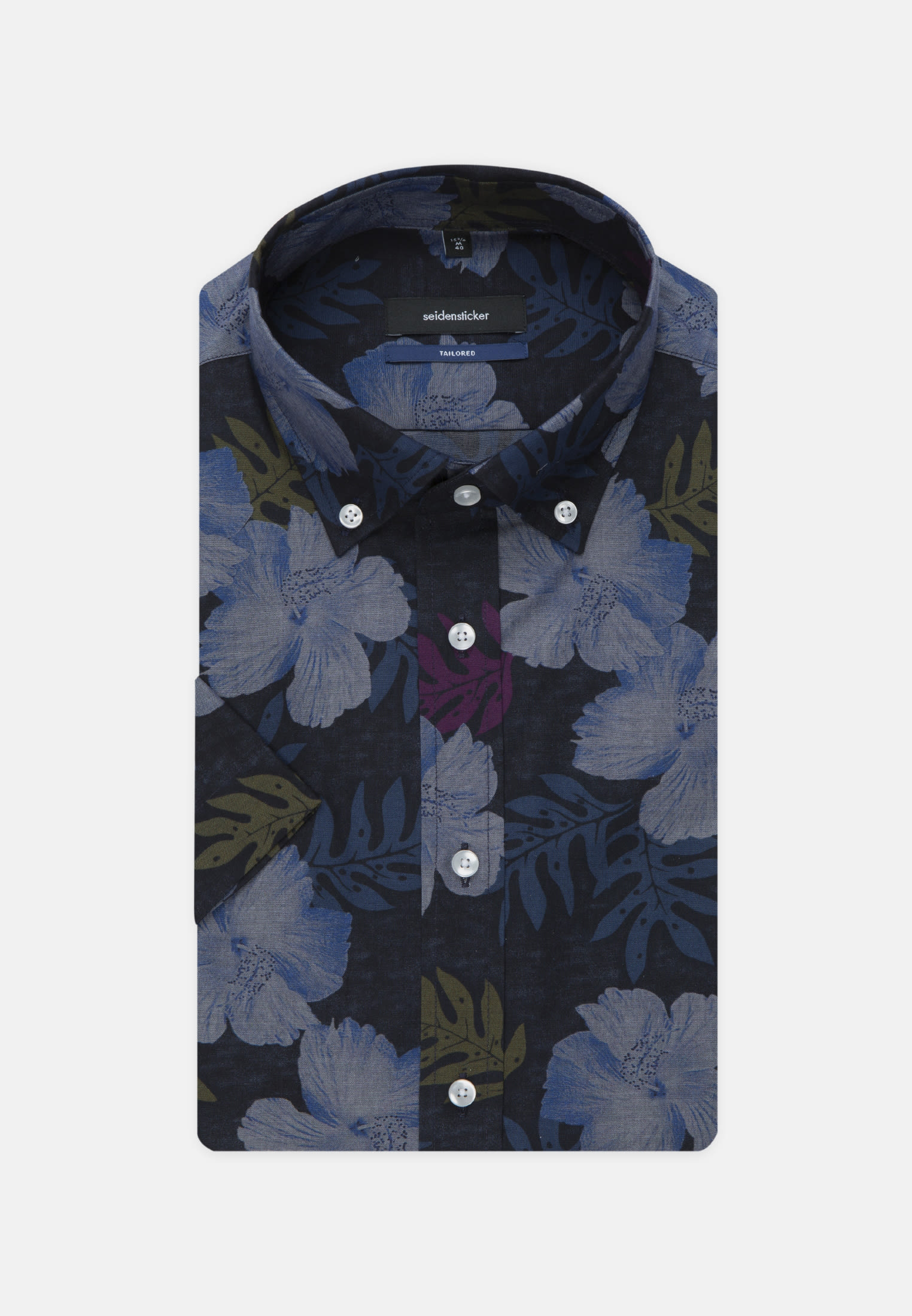 Easy-iron Poplin Short arm Business Shirt in Shaped with Button-Down-Collar in Dark blue |  Seidensticker Onlineshop