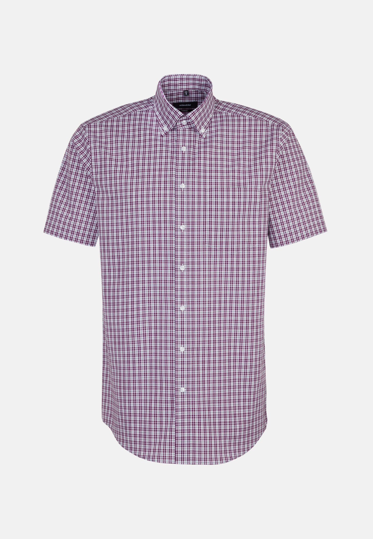 Bügelfreies Popeline Kurzarm Business Hemd in Comfort mit Button-Down-Kragen in Lila |  Seidensticker Onlineshop