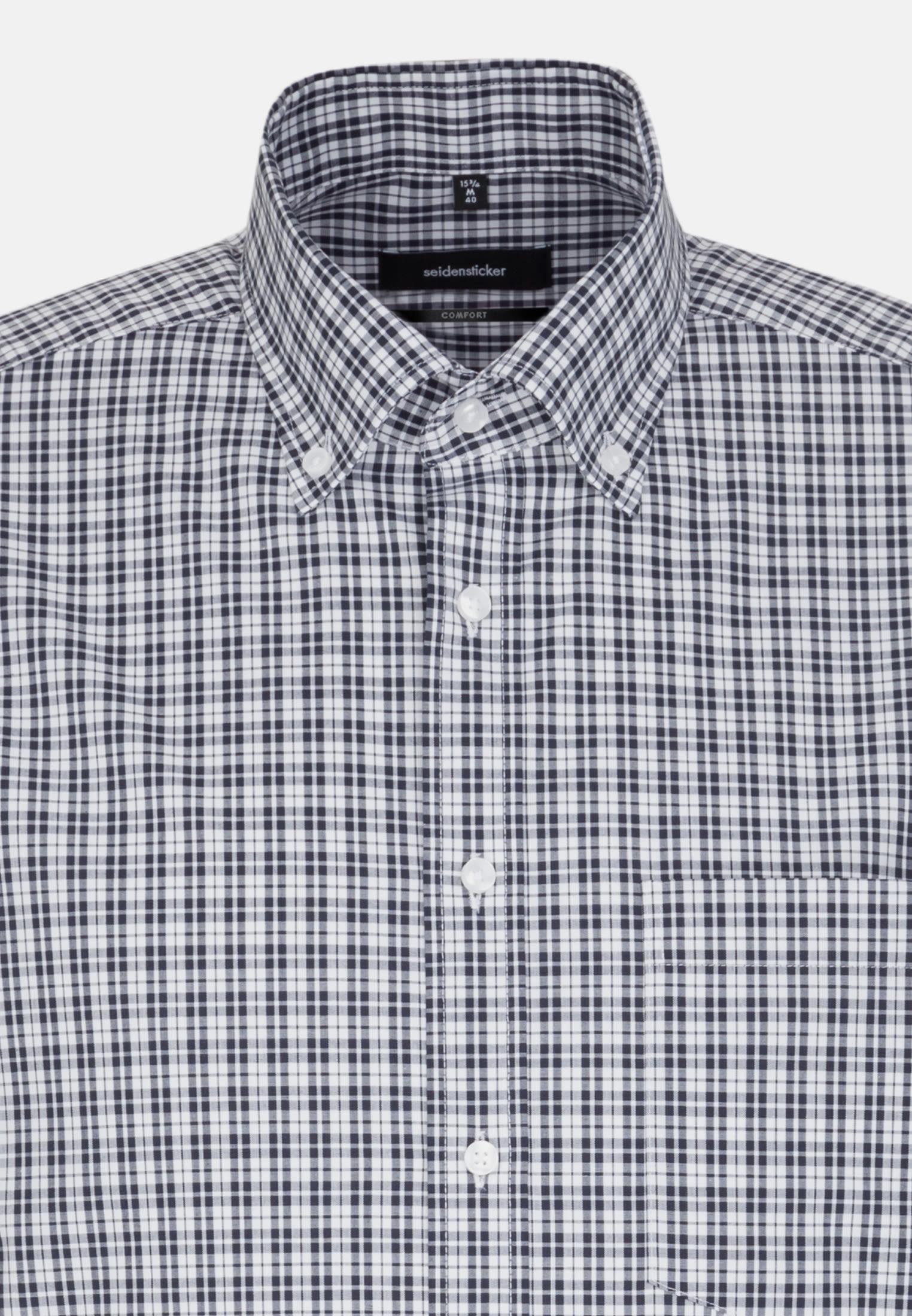 Non-iron Poplin Short arm Business Shirt in Comfort with Button-Down-Collar in Dark blue |  Seidensticker Onlineshop