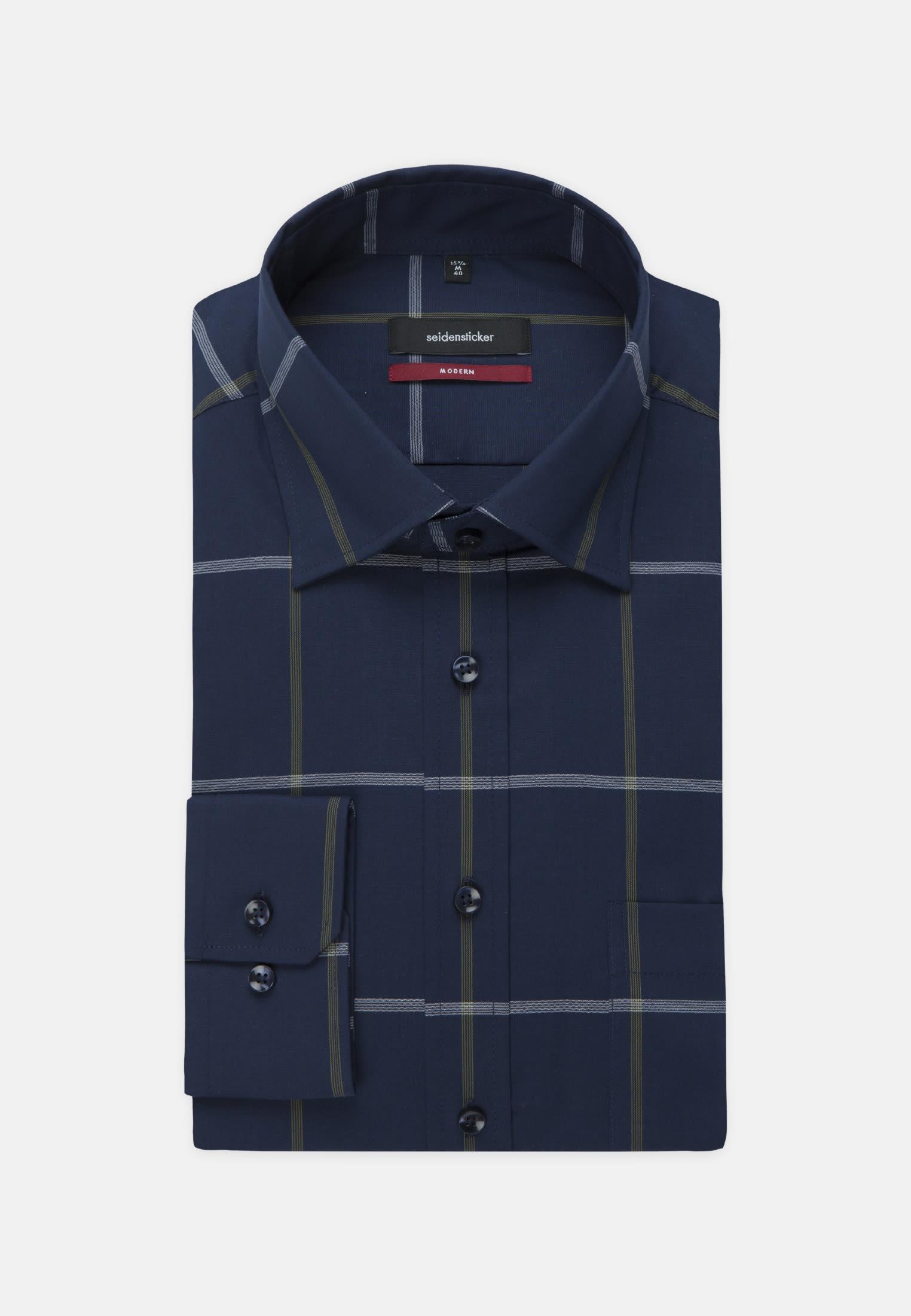 Bügelfreies Popeline Business Hemd in Regular mit Covered-Button-Down-Kragen in Dunkelblau |  Seidensticker Onlineshop