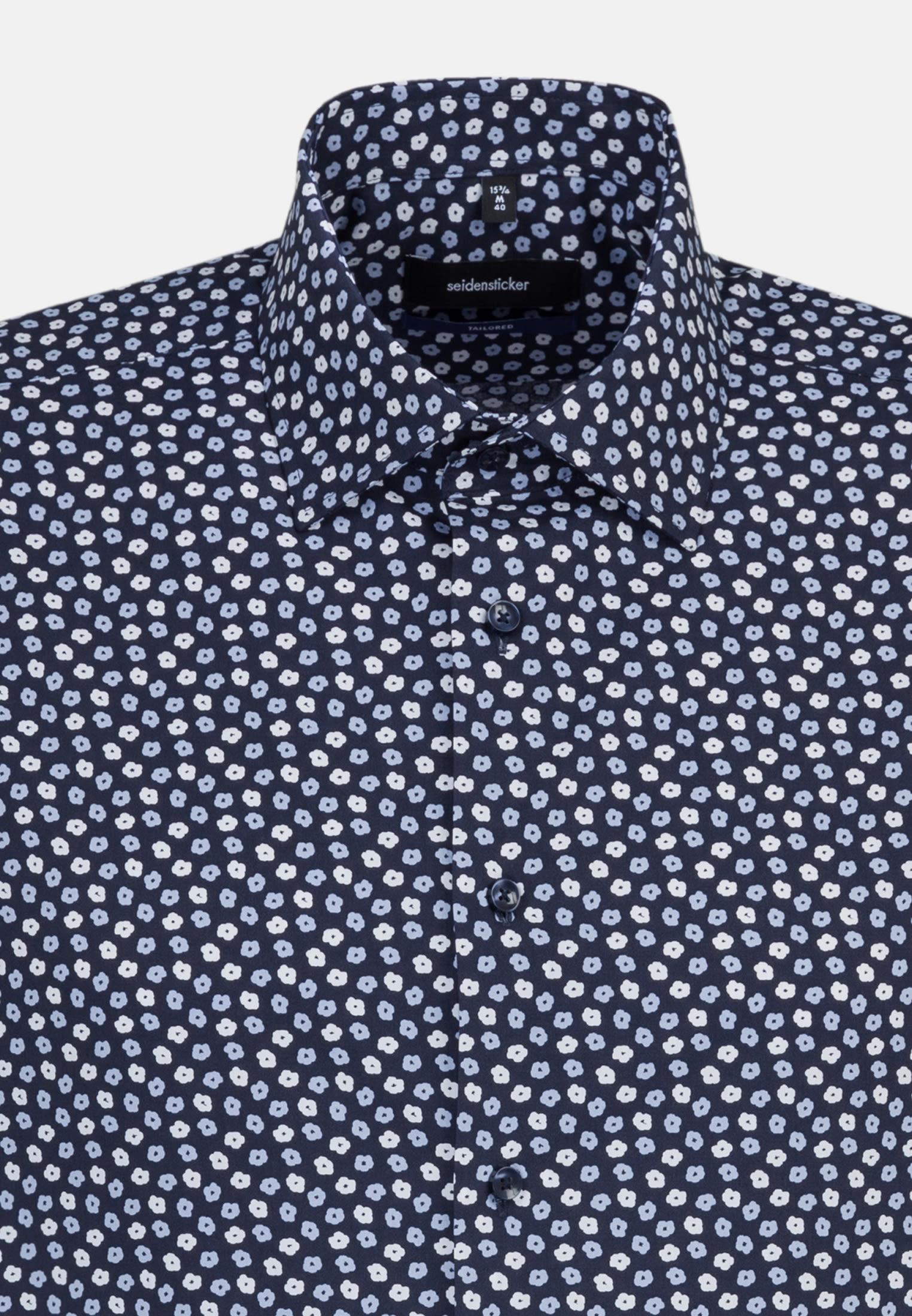 Bügelleichtes Popeline Kurzarm Business Hemd in Tailored mit Kentkragen in Dunkelblau |  Seidensticker Onlineshop