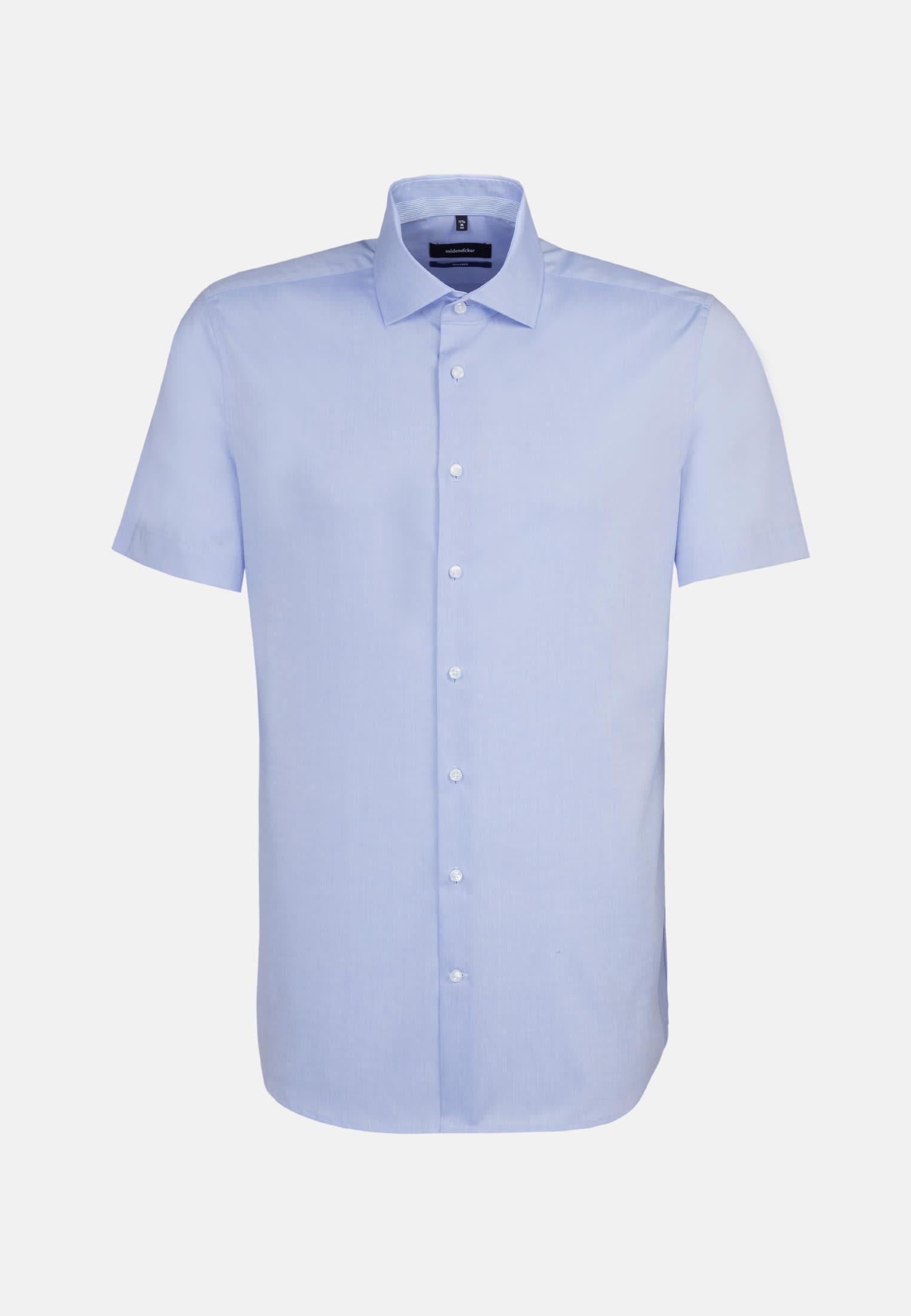 Bügelfreies Chambray Kurzarm Business Hemd in Shaped mit Kentkragen in Hellblau |  Seidensticker Onlineshop