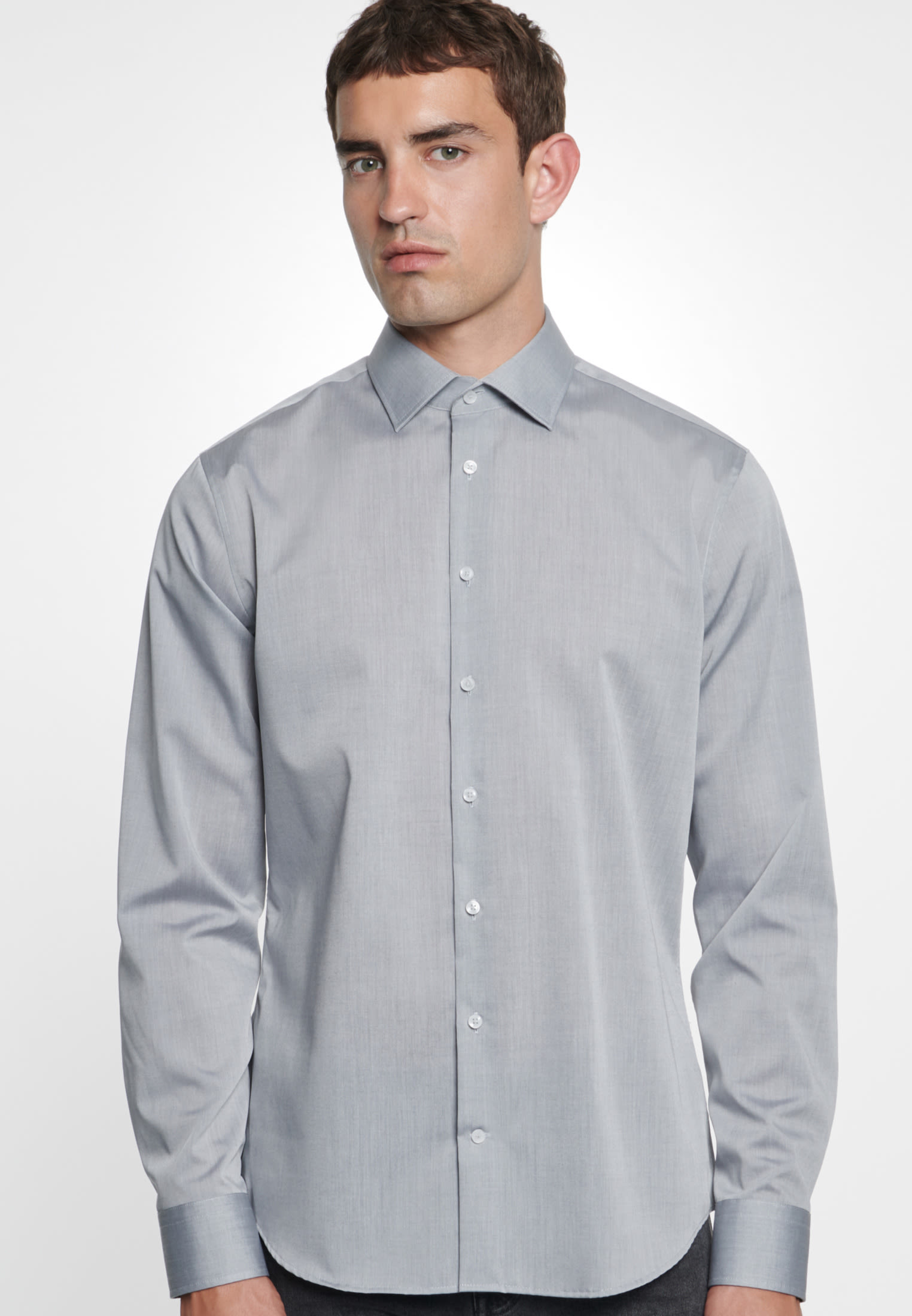 Non-iron Chambray Business Shirt in Tailored with Kent-Collar in Grey    Seidensticker Onlineshop