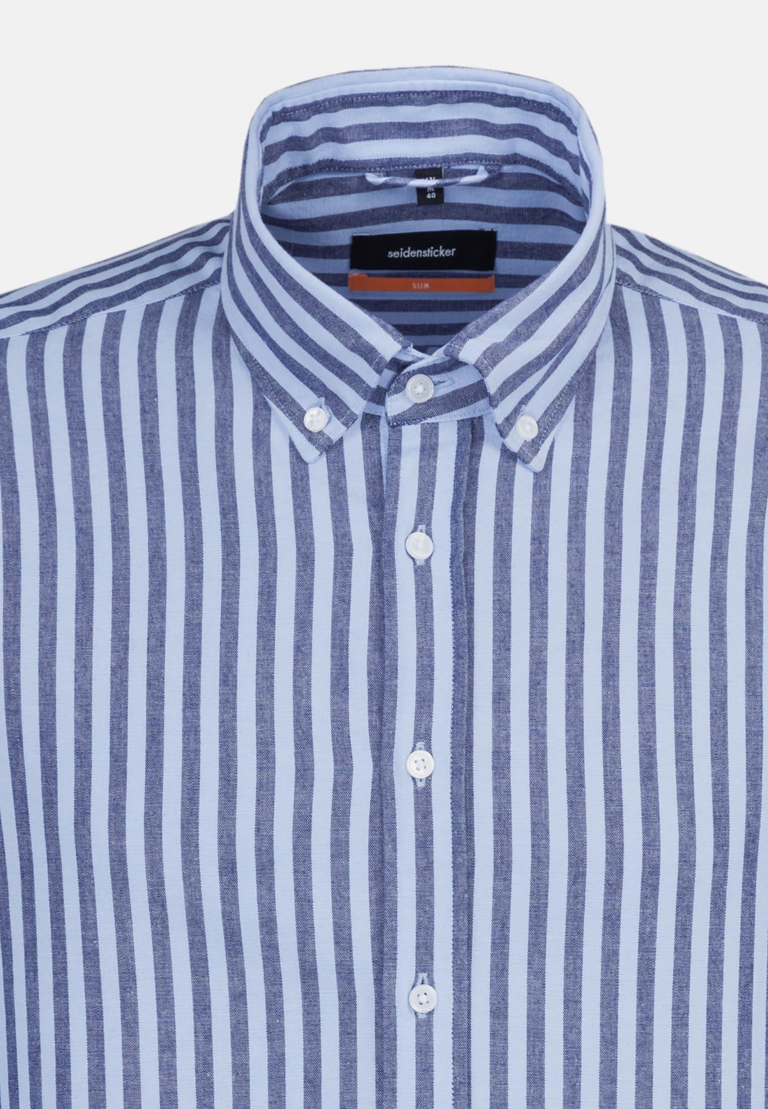 Popeline Business Hemd in Slim mit Button-Down-Kragen in Dunkelblau    Seidensticker Onlineshop