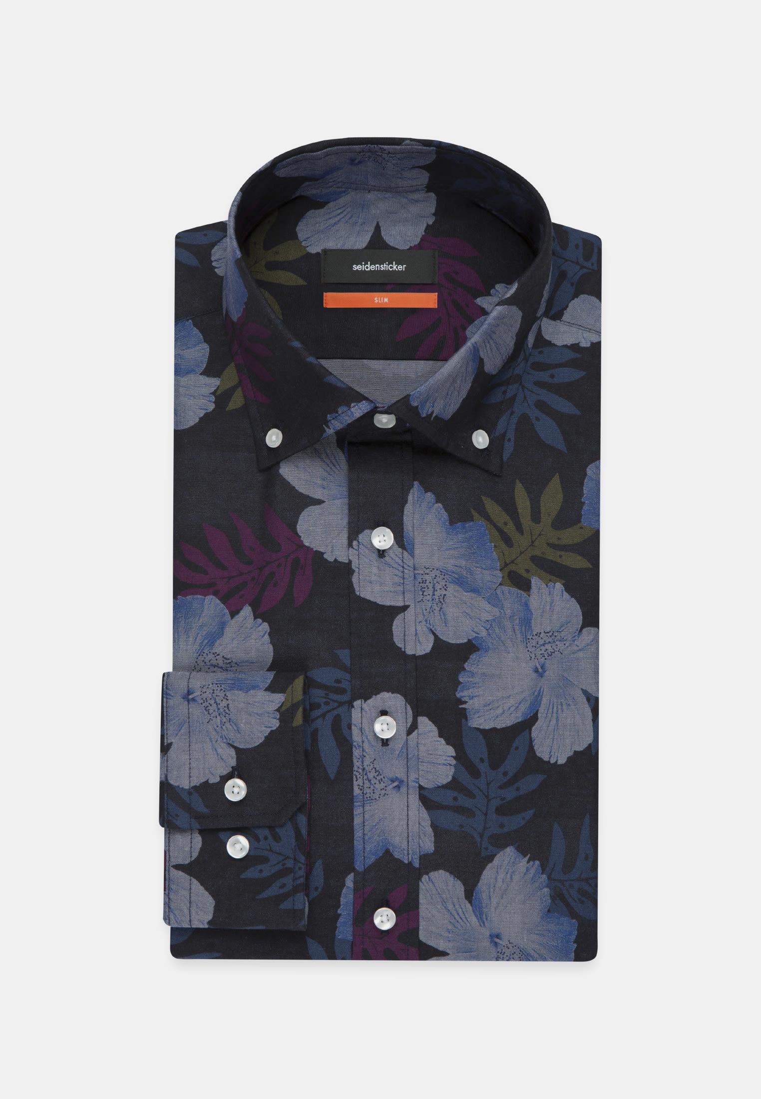 Easy-iron Poplin Business Shirt in Slim with Button-Down-Collar in dunkelblau |  Seidensticker Onlineshop