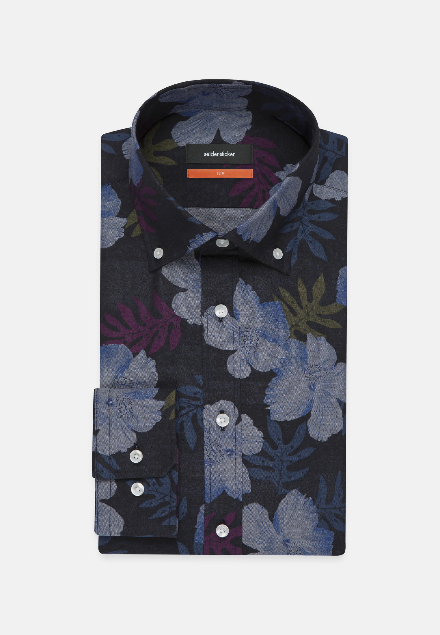 Easy-iron Poplin Business Shirt in Slim with Button-Down-Collar in Dark blue |  Seidensticker Onlineshop