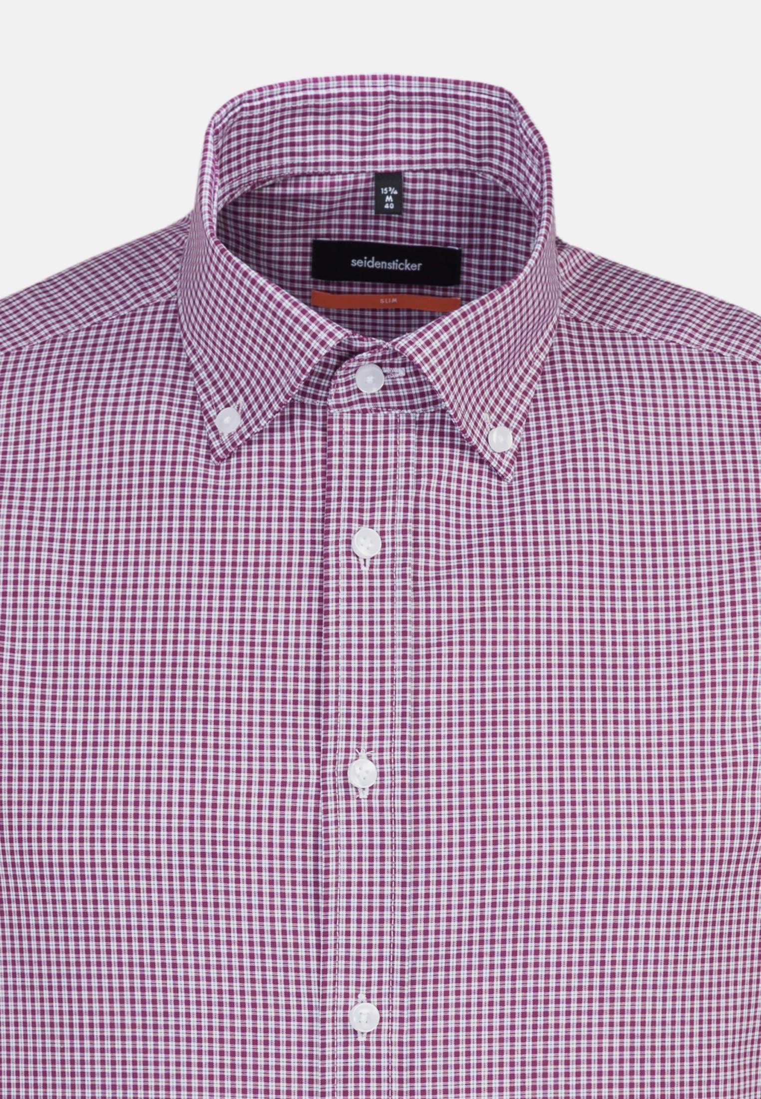 Bügelfreies Popeline Kurzarm Business Hemd in Slim mit Button-Down-Kragen in Lila |  Seidensticker Onlineshop