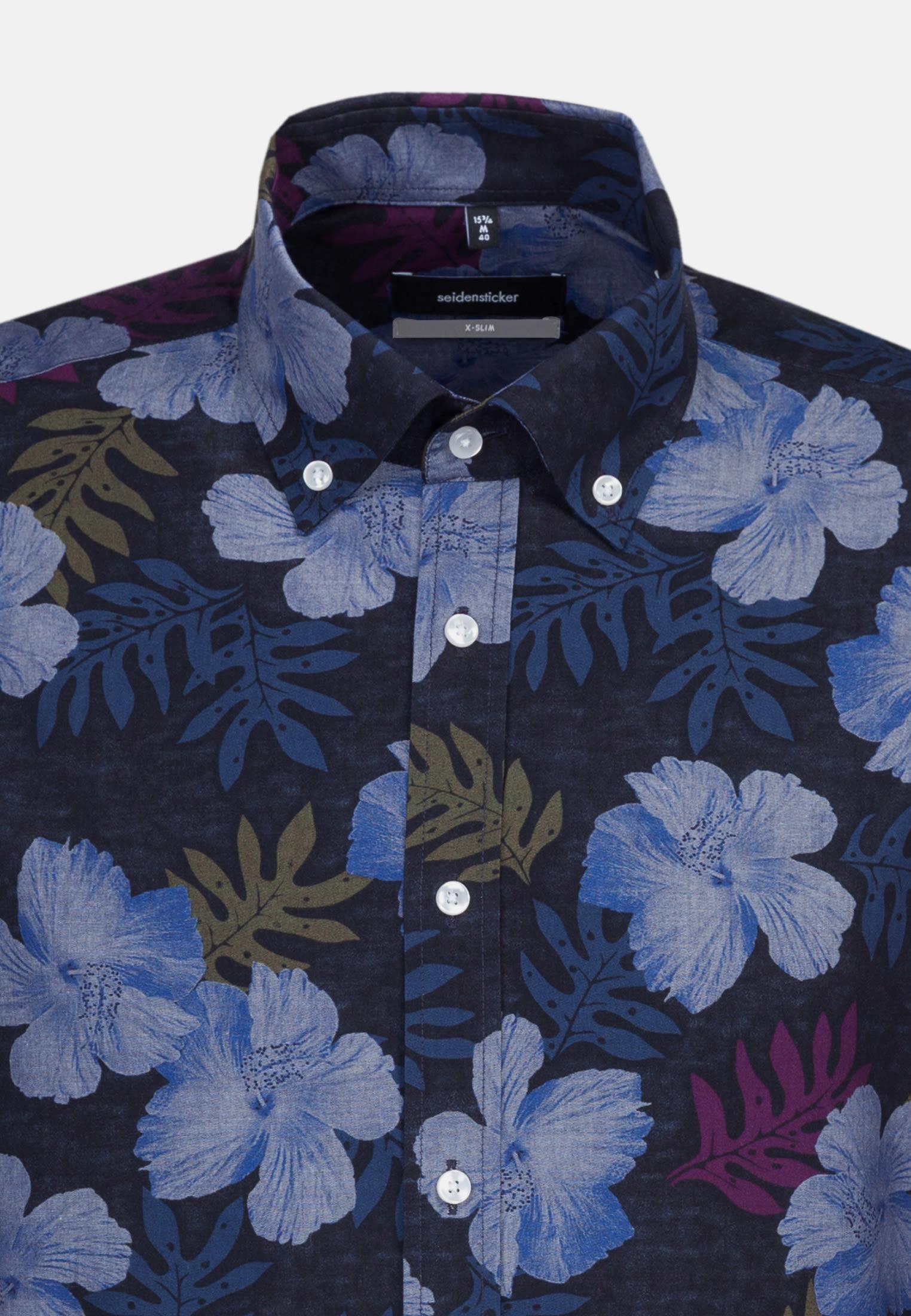 Easy-iron Poplin Business Shirt in X-Slim with Button-Down-Collar in Dark blue    Seidensticker Onlineshop
