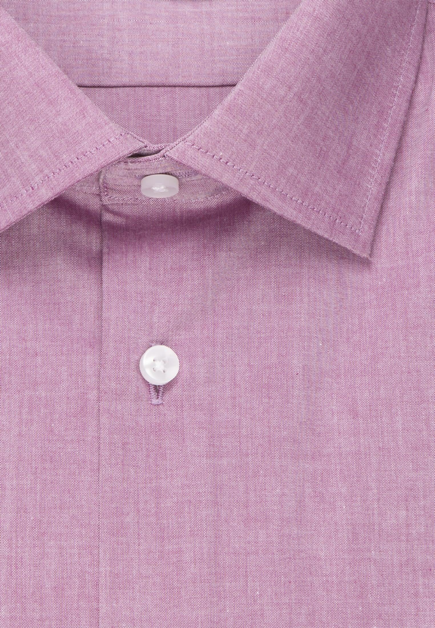 Bügelfreies Chambray Kurzarm Business Hemd in Shaped mit Kentkragen in Lila |  Seidensticker Onlineshop