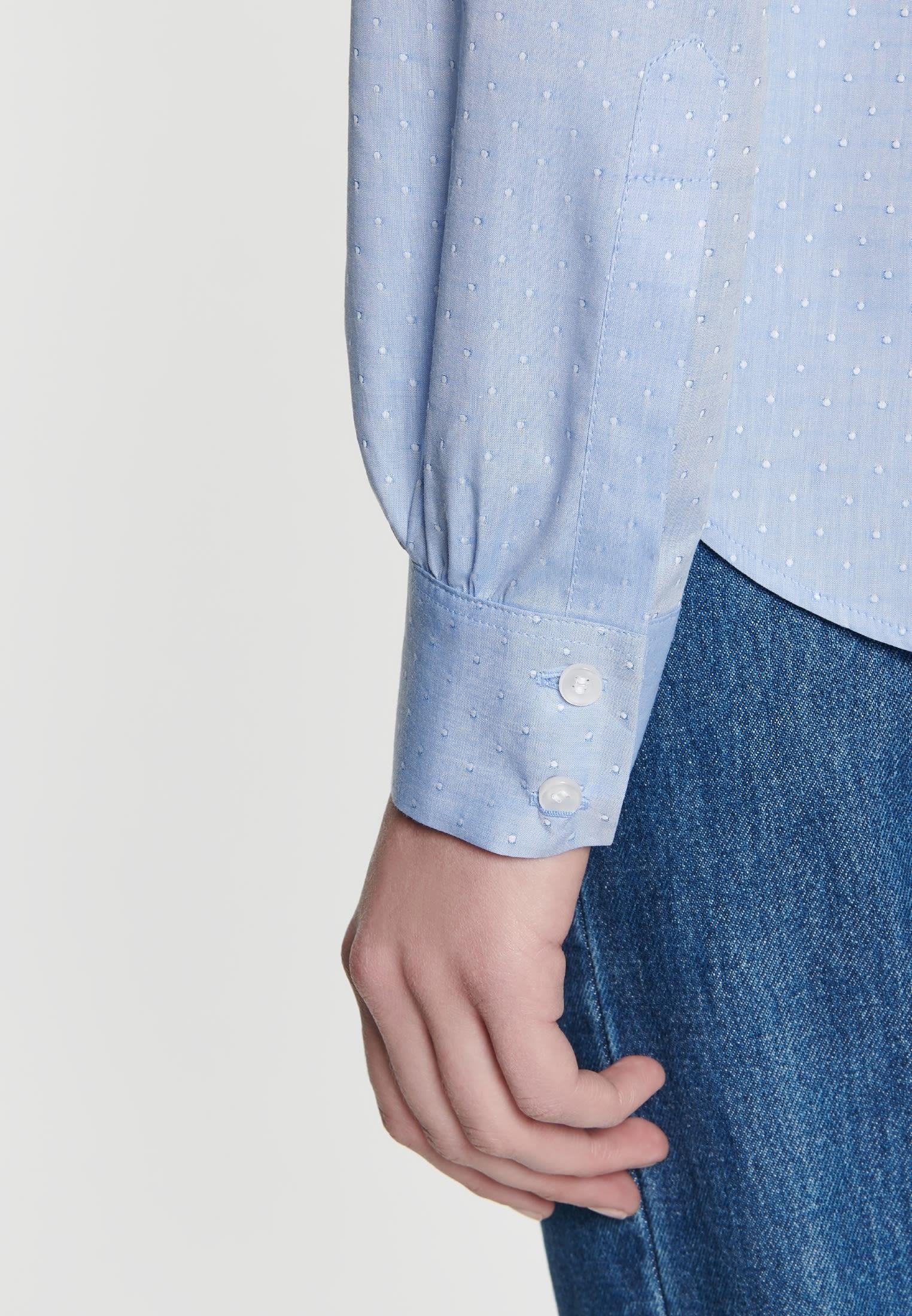 Jacquard Hemdbluse aus 100% Baumwolle in Hellblau    Seidensticker Onlineshop