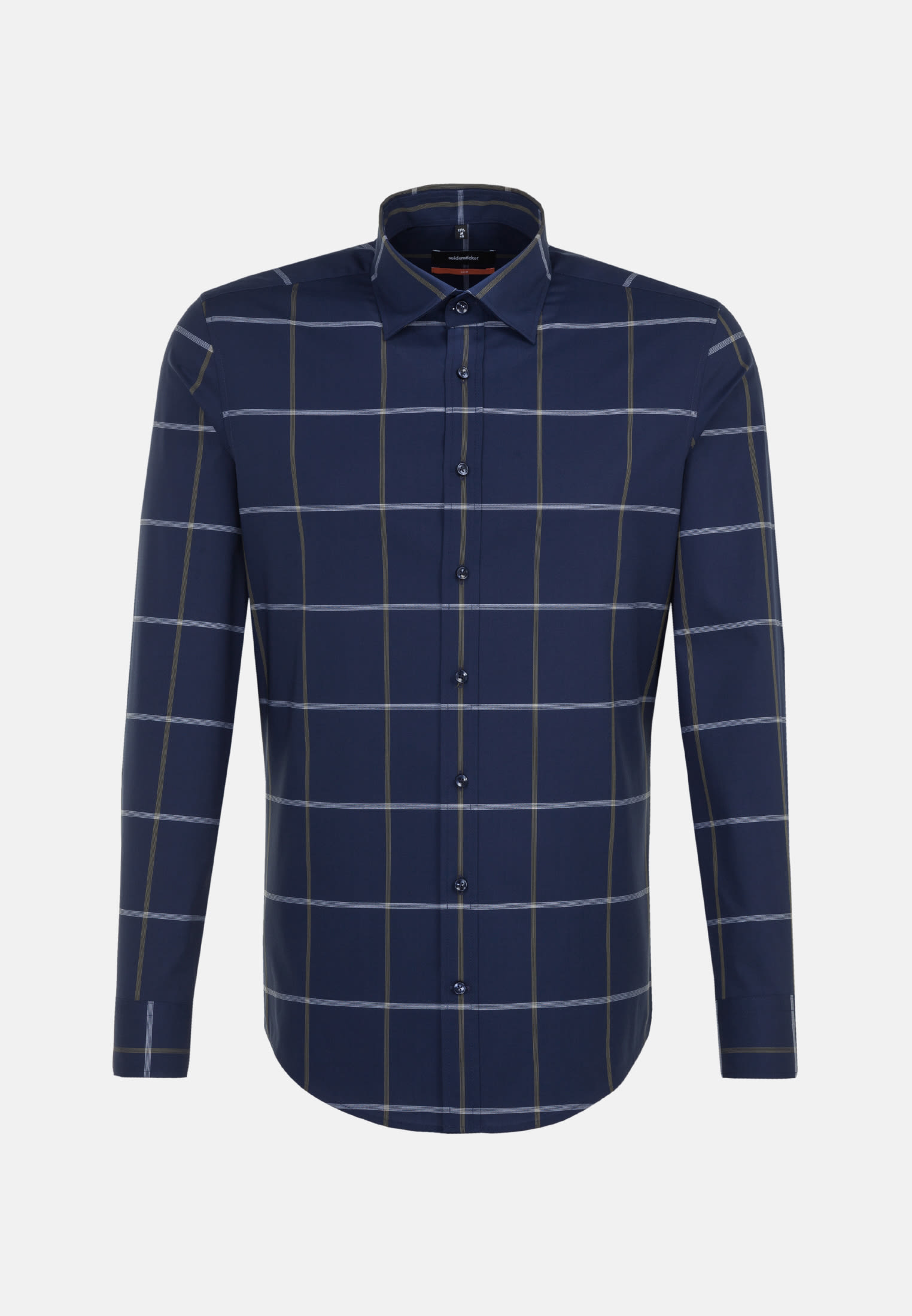Non-iron Poplin Business Shirt in Slim with Covered-Button-Down-Collar in Green |  Seidensticker Onlineshop