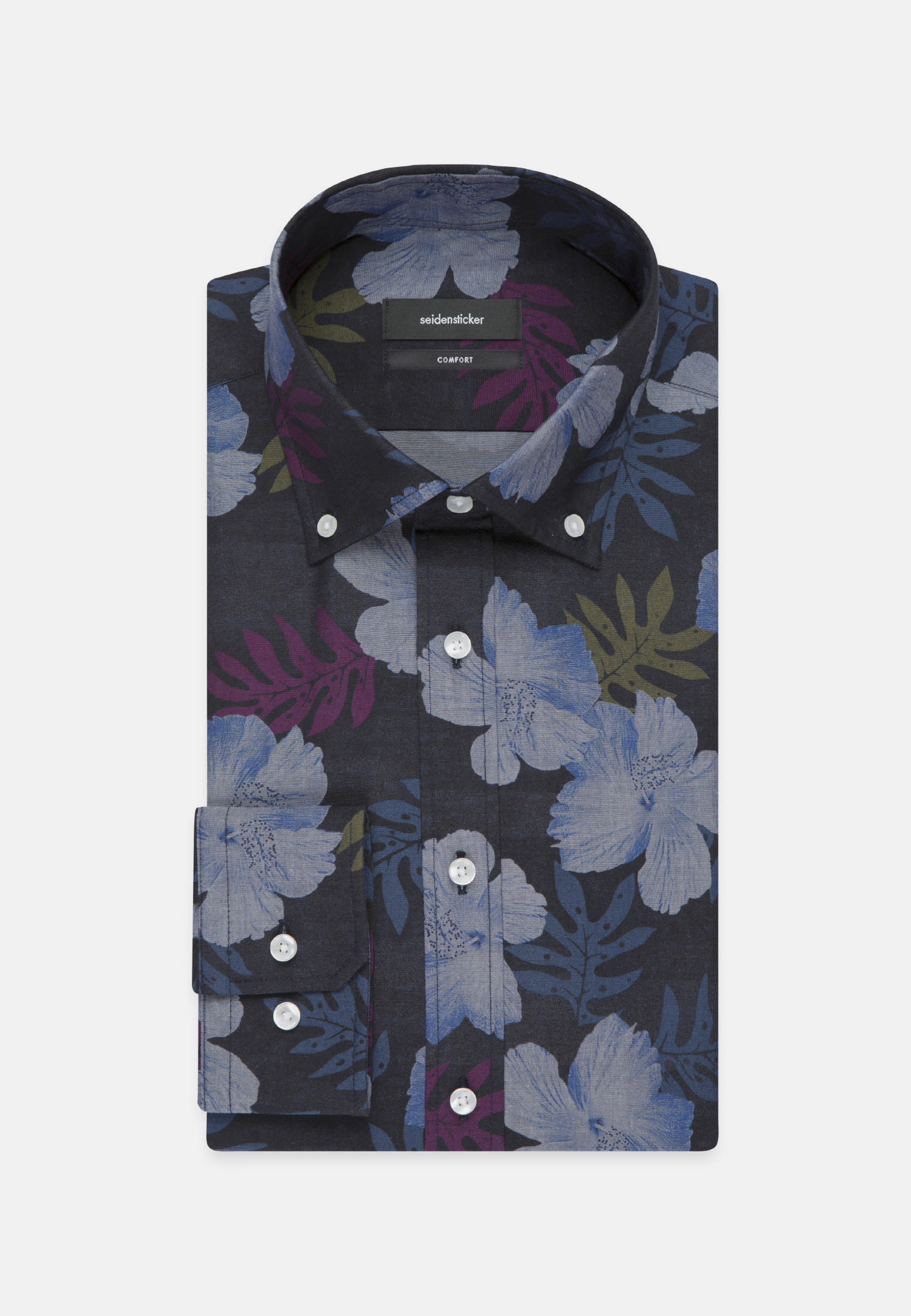 Easy-iron Poplin Business Shirt in Comfort with Button-Down-Collar in Dark blue |  Seidensticker Onlineshop
