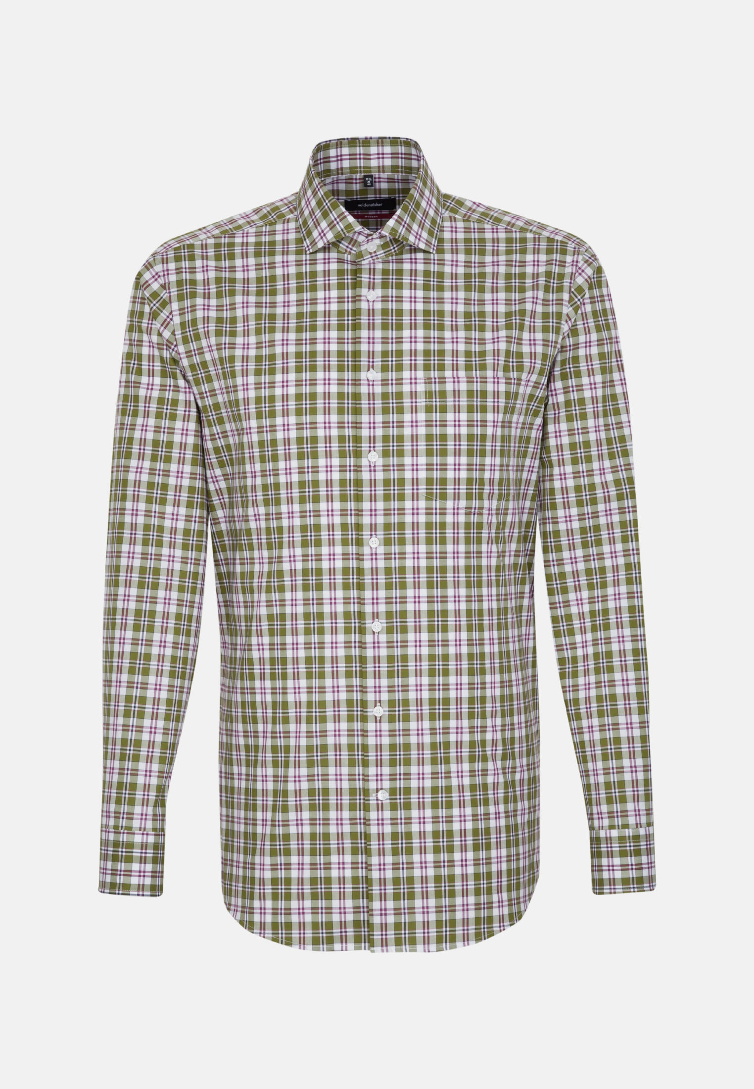 Non-iron Poplin Business Shirt in Modern with Kent-Collar in Green |  Seidensticker Onlineshop