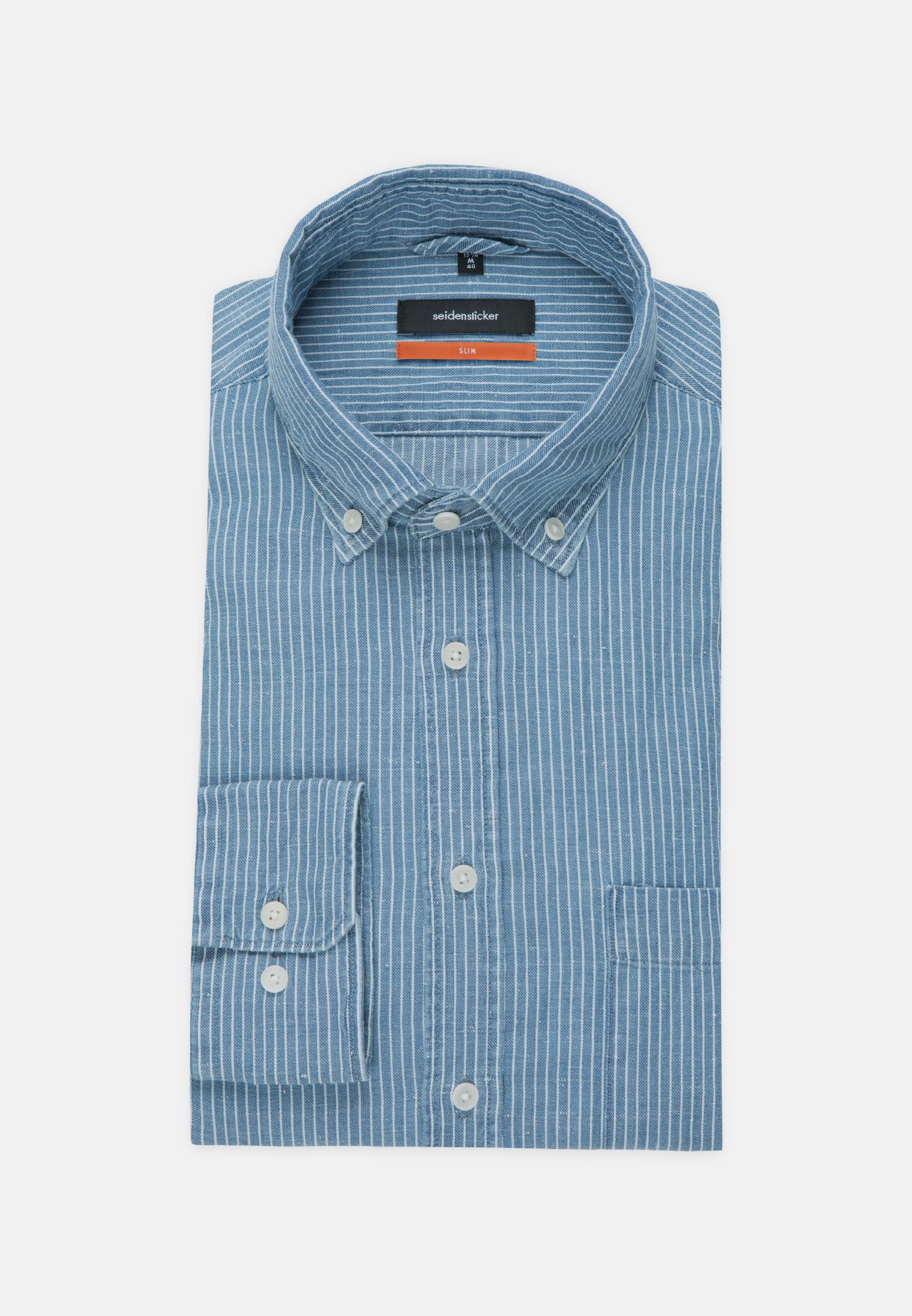Linen Business Shirt in Slim with Button-Down-Collar in Medium blue |  Seidensticker Onlineshop