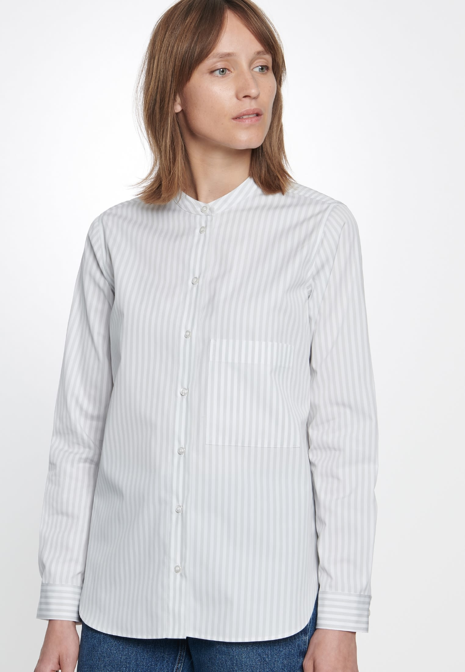 Poplin Stand-Up Blouse made of 100% Cotton in Ecru |  Seidensticker Onlineshop