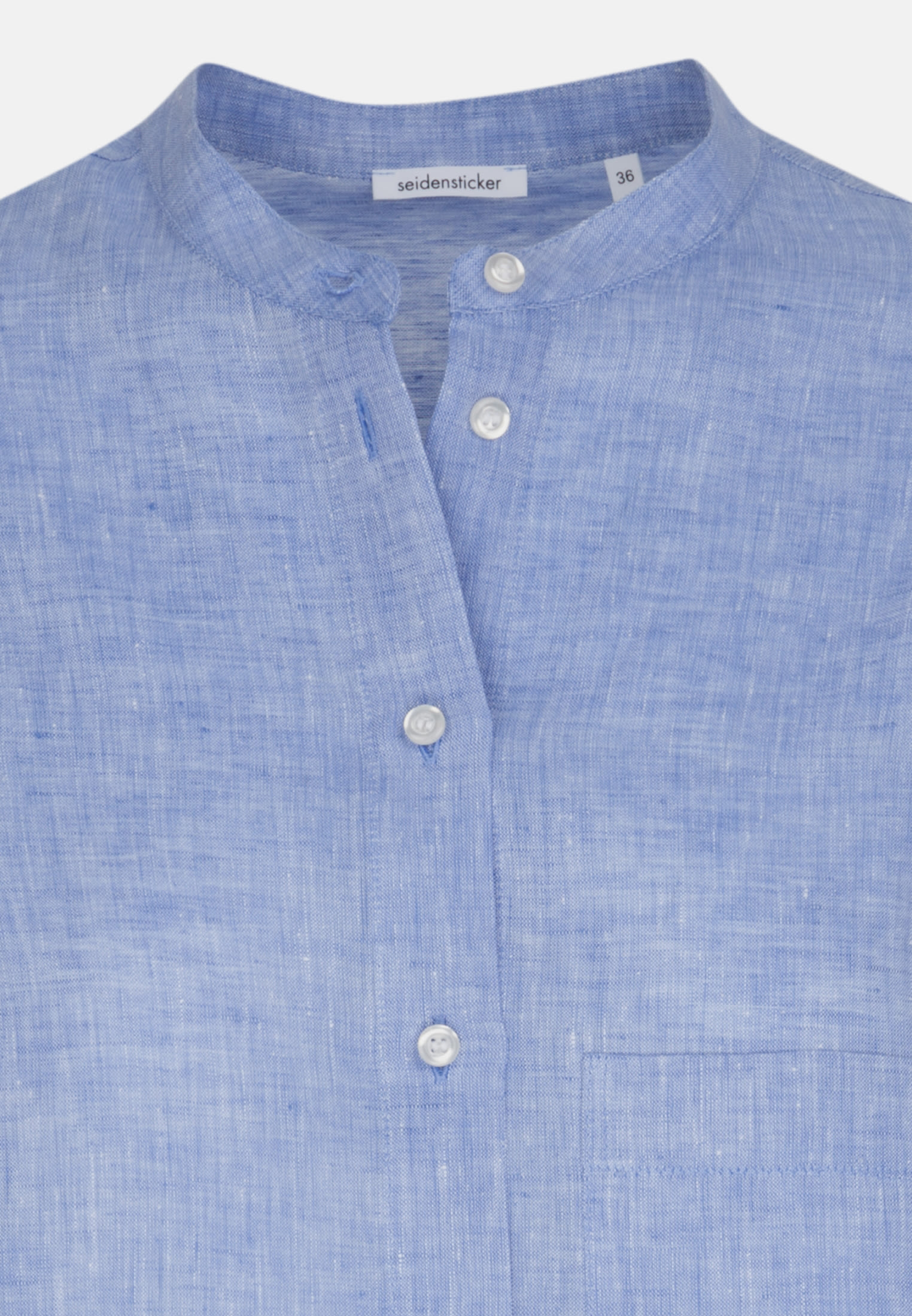Linen Stand-Up Blouse made of 100% Leinen/Flachs in blau |  Seidensticker Onlineshop