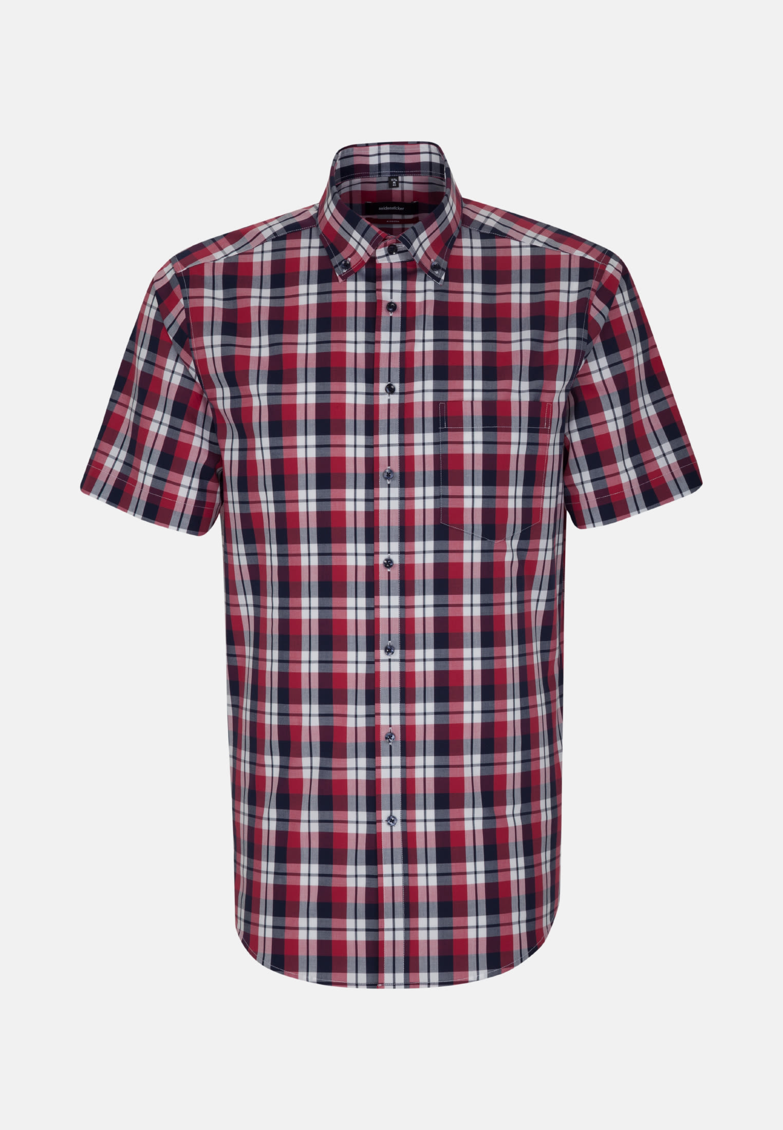 Bügelfreies Popeline Kurzarm Business Hemd in Regular mit Button-Down-Kragen in Rot |  Seidensticker Onlineshop