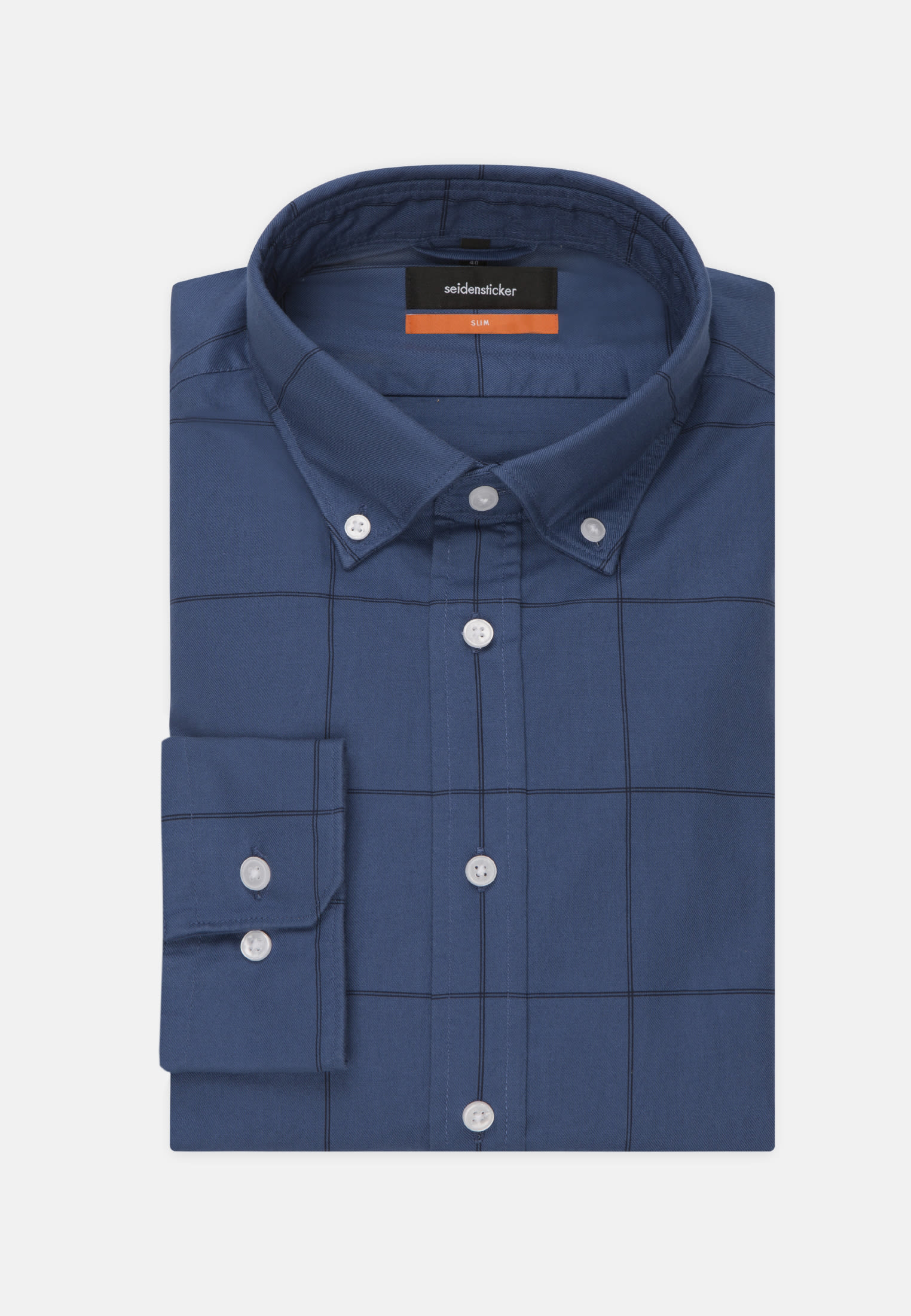 Easy-iron Chambray Business Shirt in Slim with Button-Down-Collar in Medium blue |  Seidensticker Onlineshop