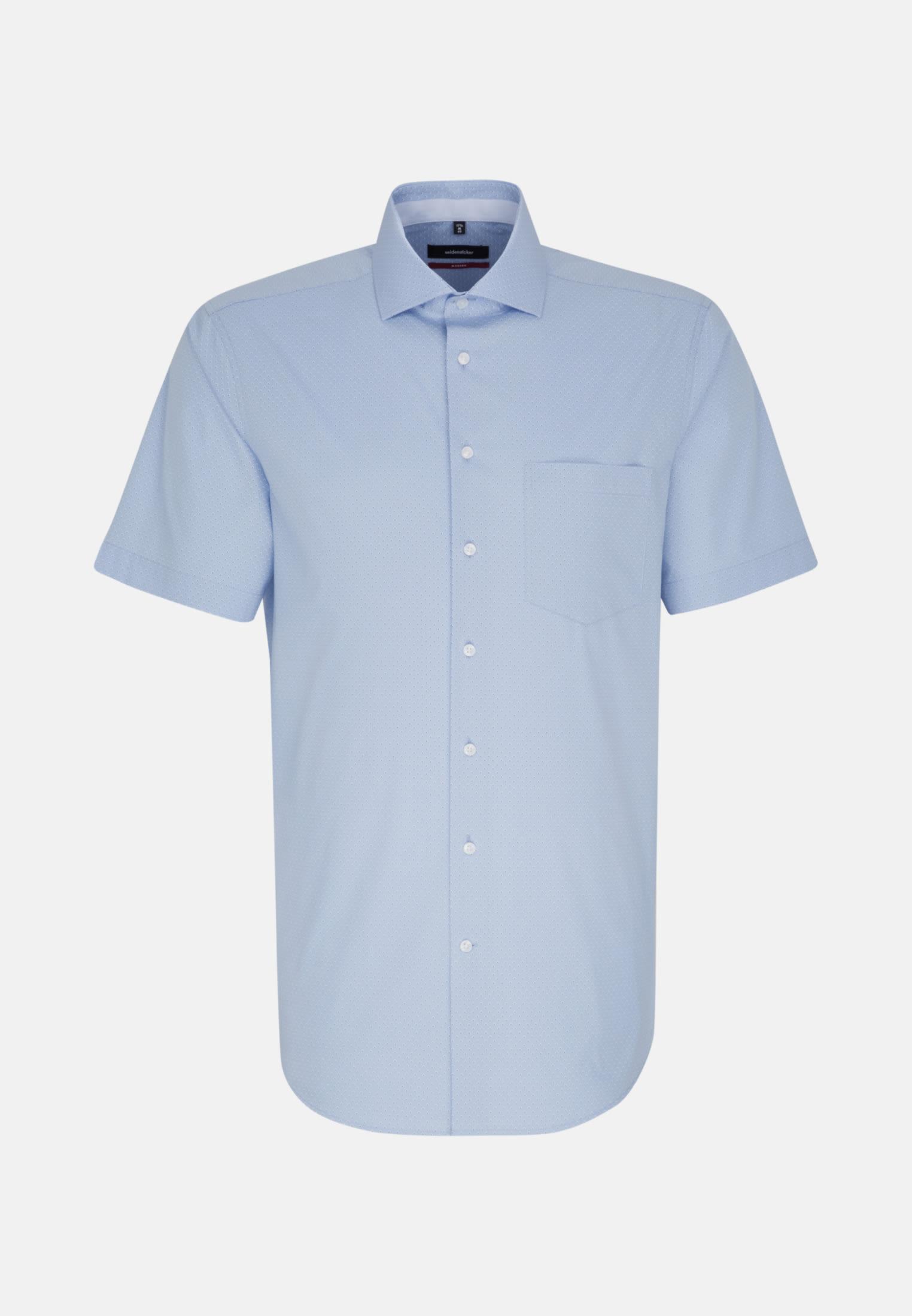 Bügelleichtes Popeline Kurzarm Business Hemd in Regular mit Kentkragen in Hellblau |  Seidensticker Onlineshop