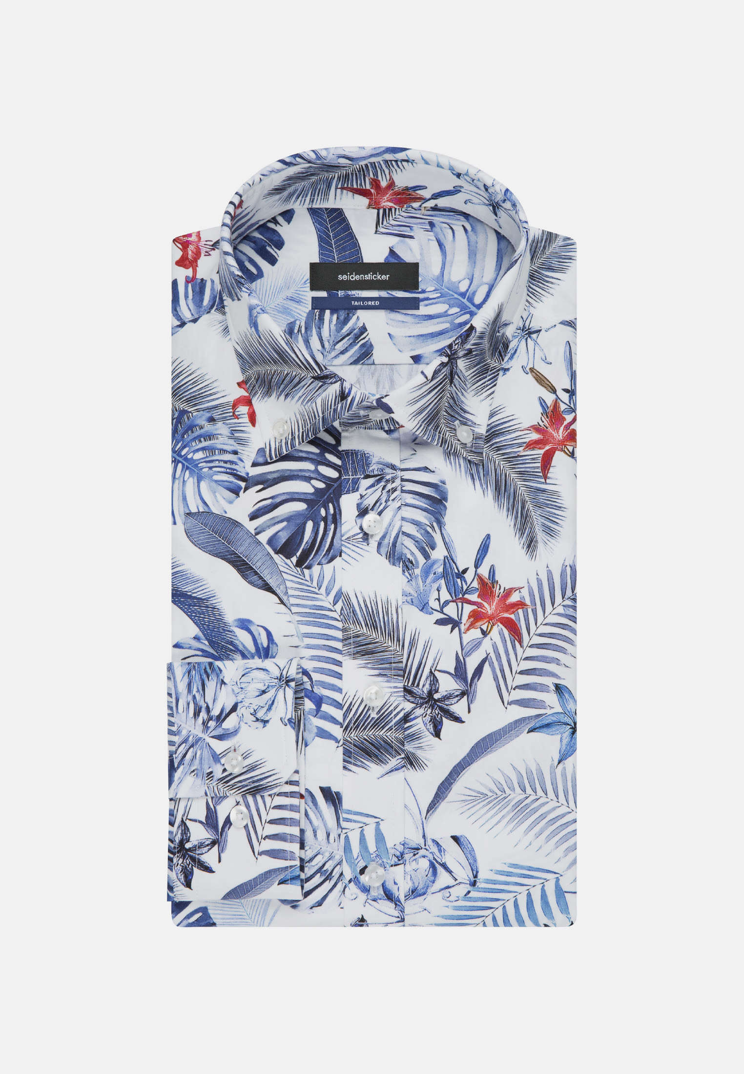 Easy-iron Poplin Business Shirt in Shaped with Button-Down-Collar in Medium blue |  Seidensticker Onlineshop