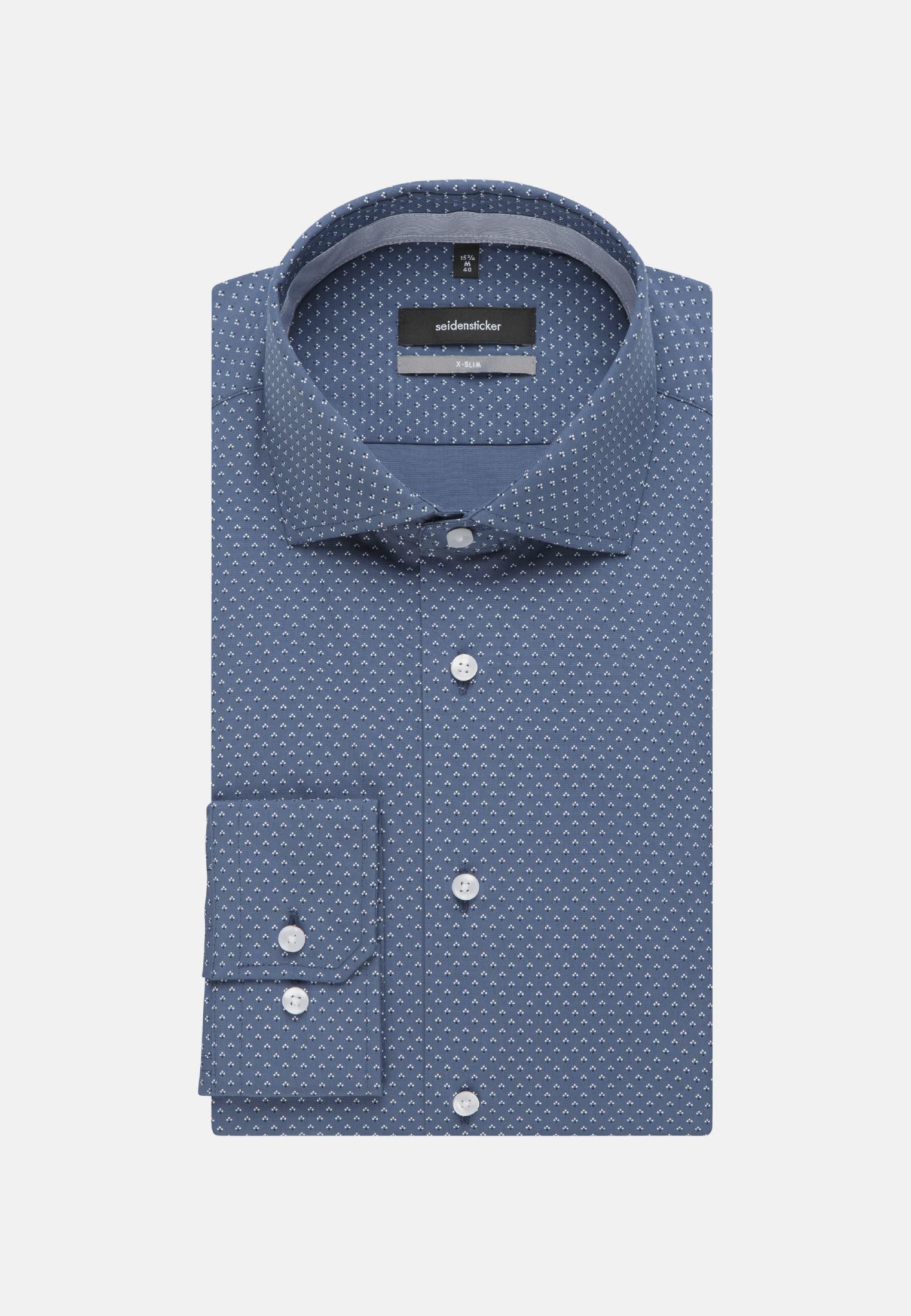 Bügelleichtes Popeline Business Hemd in X-Slim mit Kentkragen in Mittelblau |  Seidensticker Onlineshop