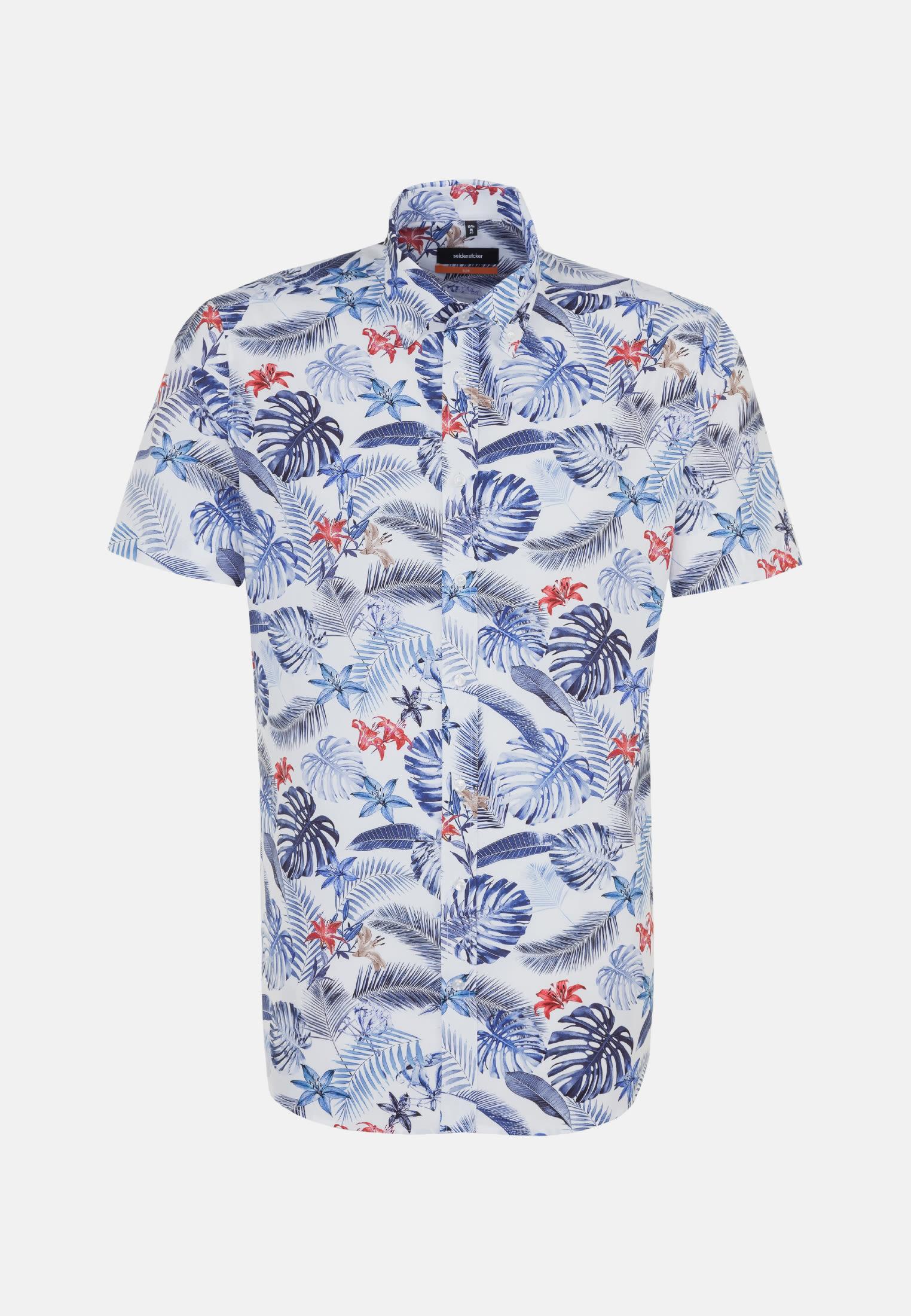 Bügelleichtes Popeline Kurzarm Business Hemd in Slim mit Button-Down-Kragen in Mittelblau |  Seidensticker Onlineshop