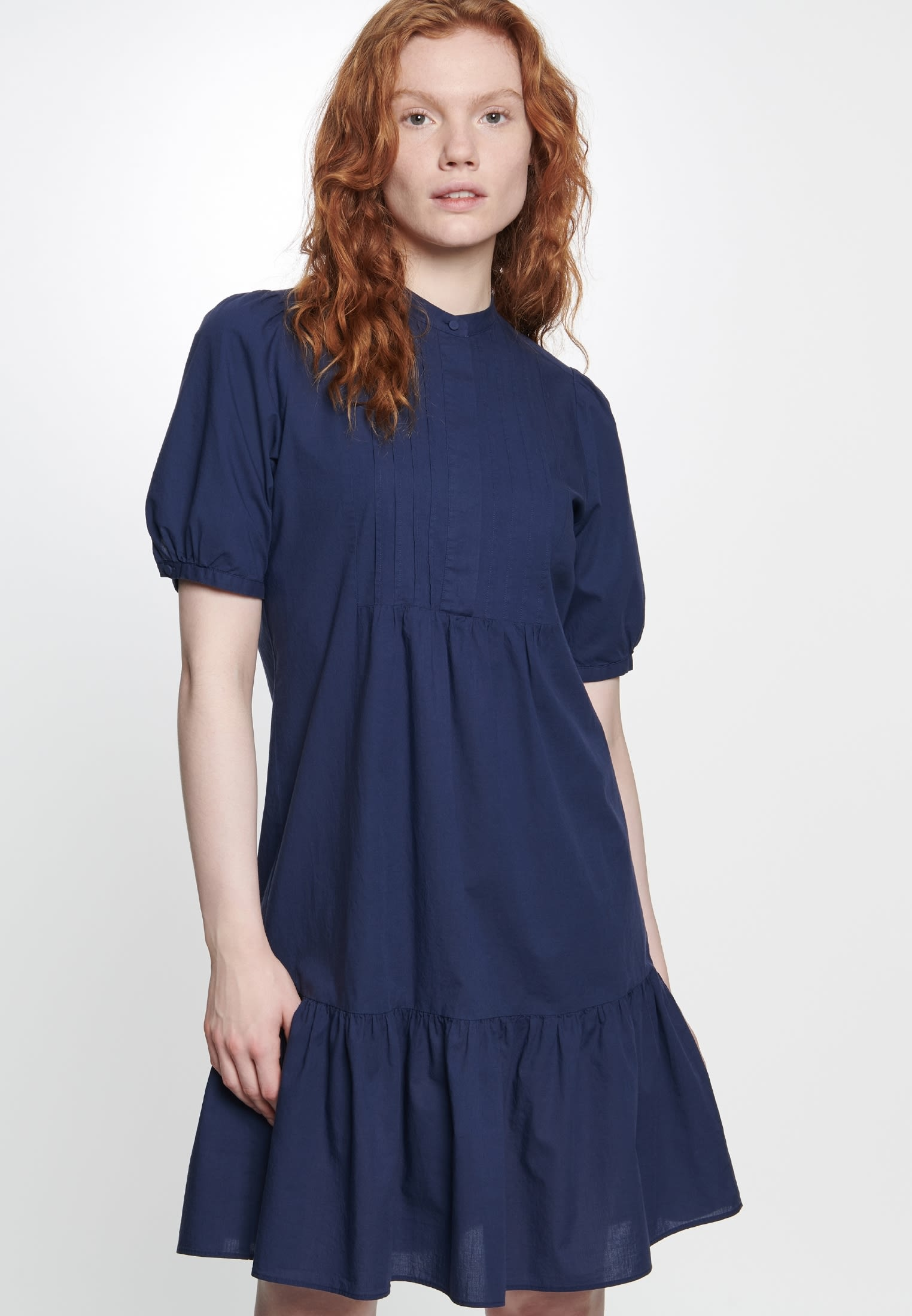Short arm Voile Dress made of 100% Cotton in marine |  Seidensticker Onlineshop
