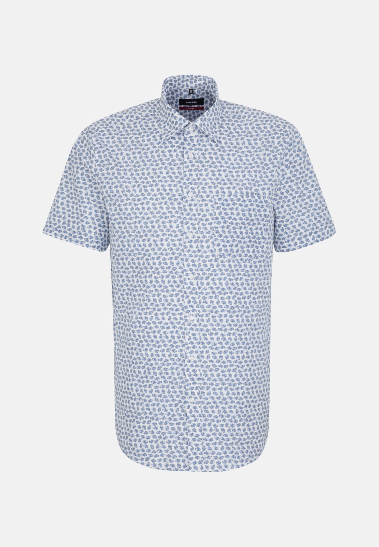 Bügelleichtes Popeline Kurzarm Business Hemd in Regular mit Covered-Button-Down-Kragen in Mittelblau    Seidensticker Onlineshop