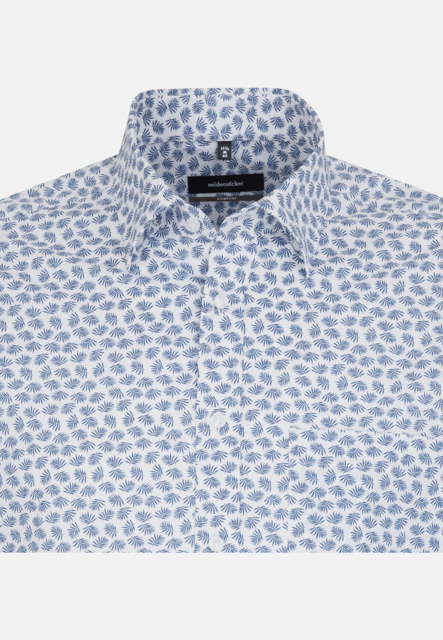 Bügelleichtes Popeline Kurzarm Business Hemd in Comfort mit Covered-Button-Down-Kragen in Mittelblau |  Seidensticker Onlineshop