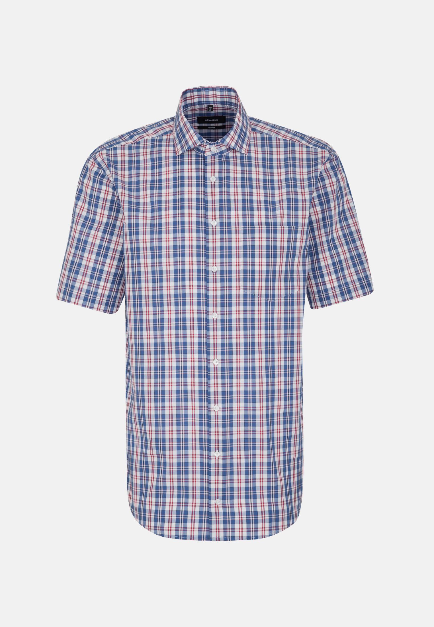 Non-iron Poplin Short arm Business Shirt in Comfort with Kent-Collar in Medium blue |  Seidensticker Onlineshop
