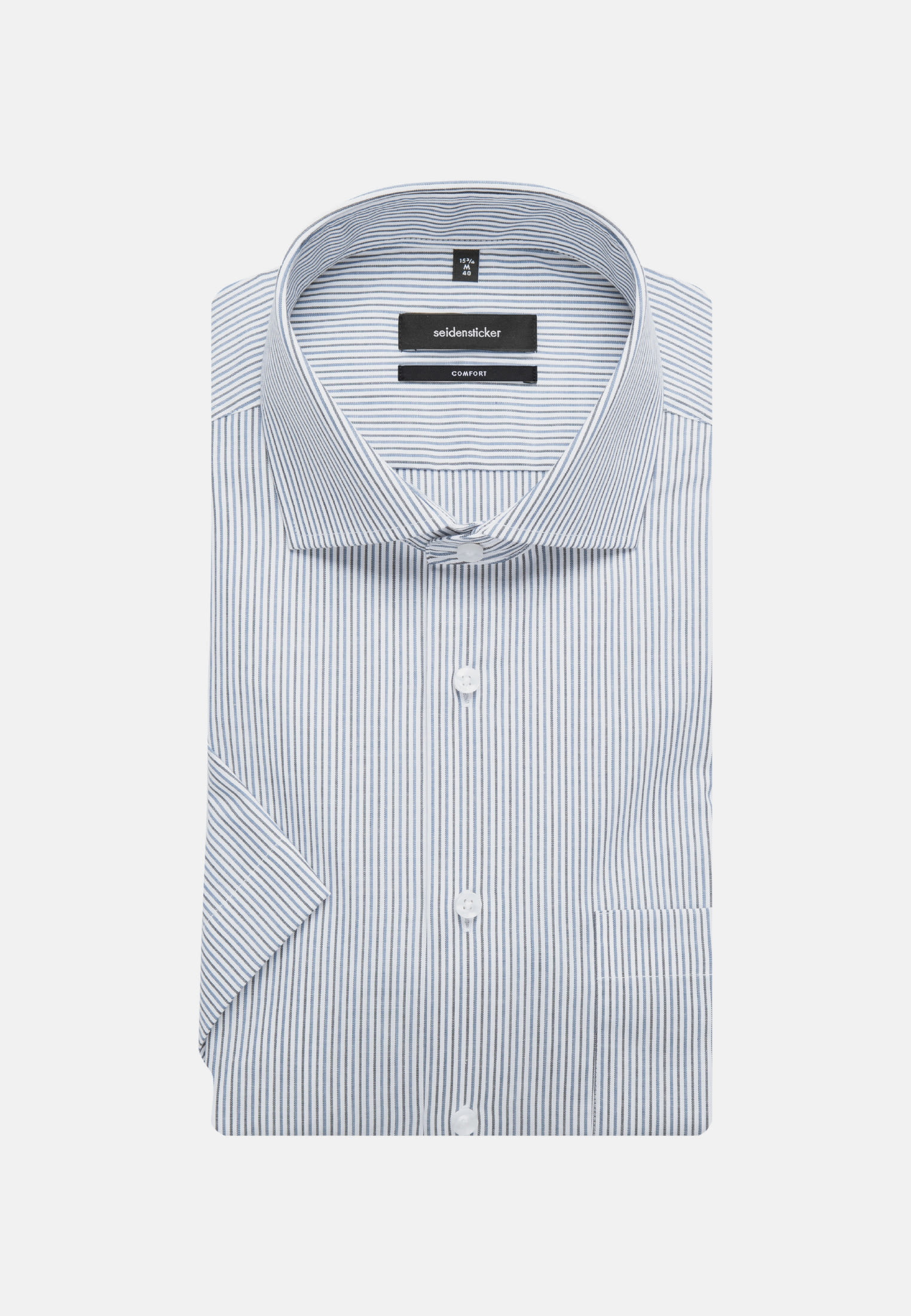 Non-iron Poplin Short sleeve Business Shirt in Comfort with Kent-Collar in Medium blue |  Seidensticker Onlineshop