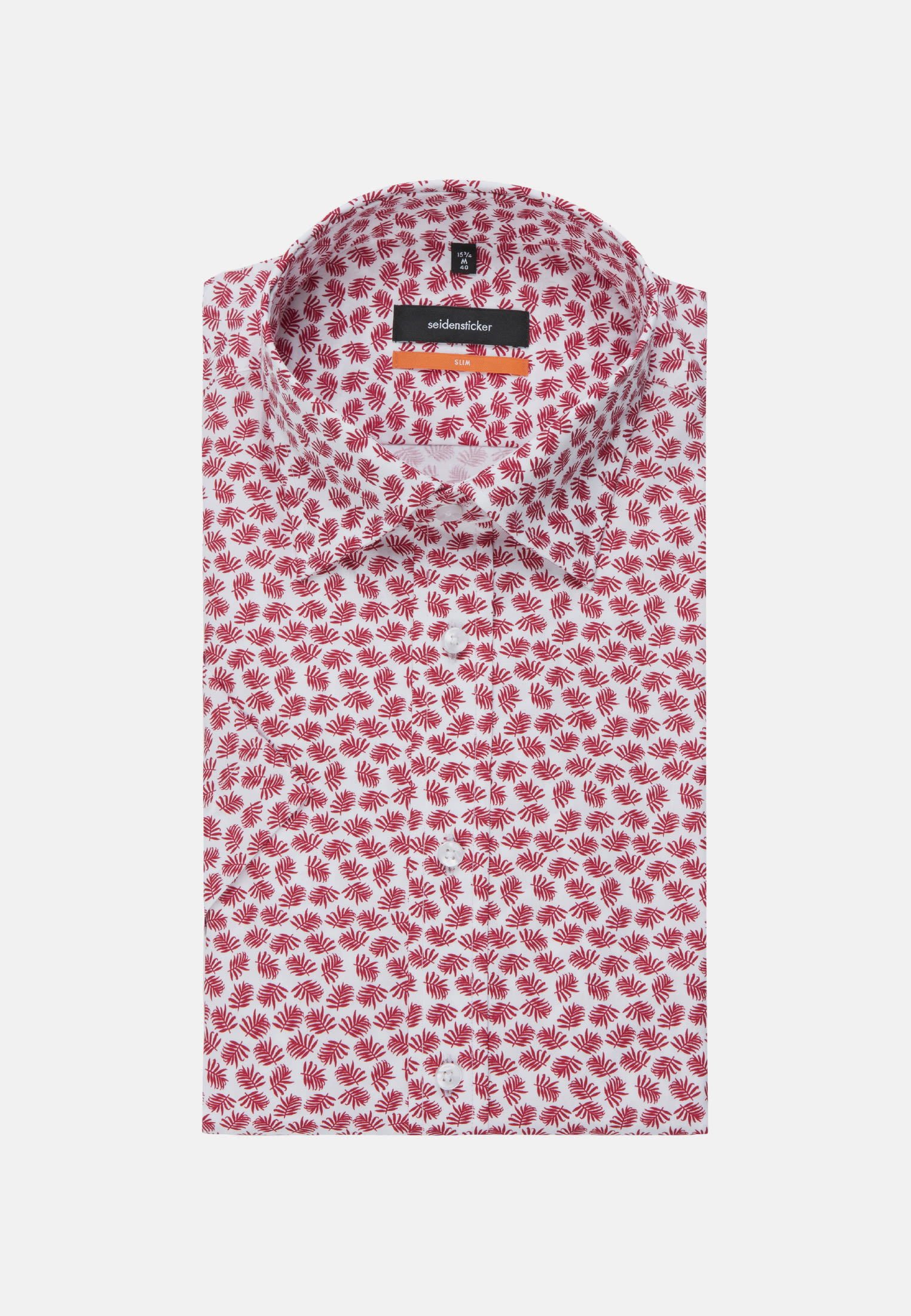 Bügelleichtes Popeline Kurzarm Business Hemd in Slim mit Covered-Button-Down-Kragen in Rot |  Seidensticker Onlineshop