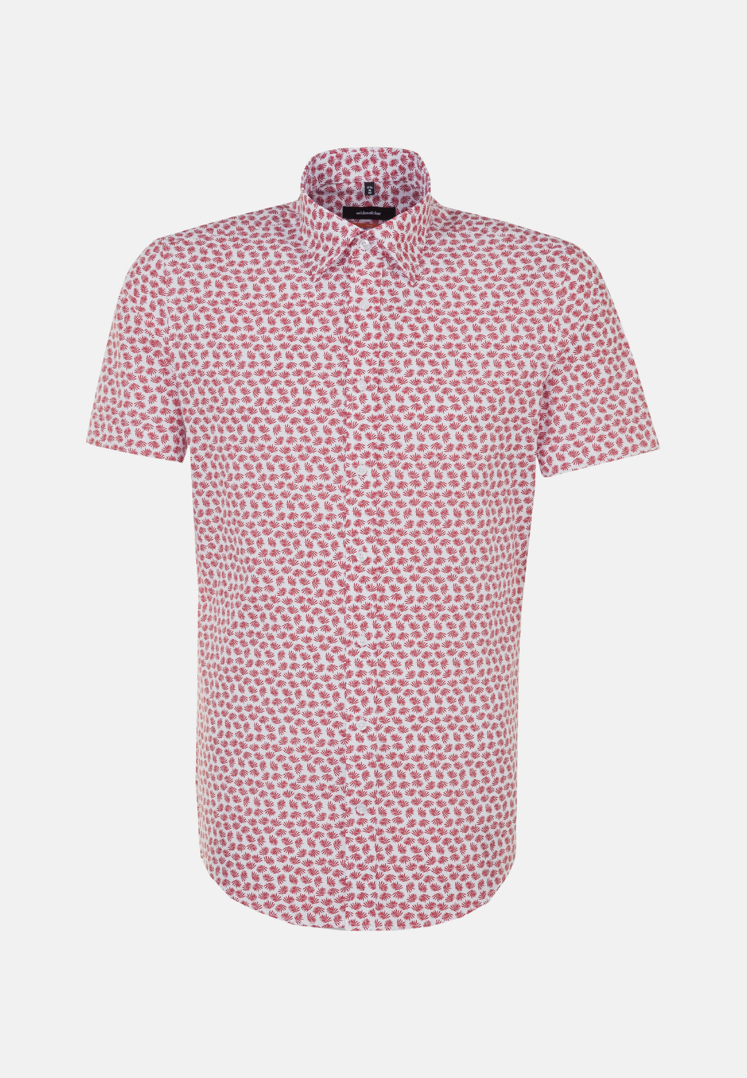 Easy-iron Poplin Short sleeve Business Shirt in Slim with Covered-Button-Down-Collar in Red |  Seidensticker Onlineshop
