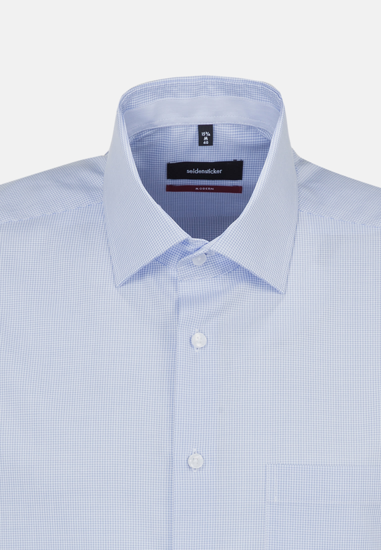 Non-iron Poplin Short arm Business Shirt in Modern with Kent-Collar in Light blue |  Seidensticker Onlineshop