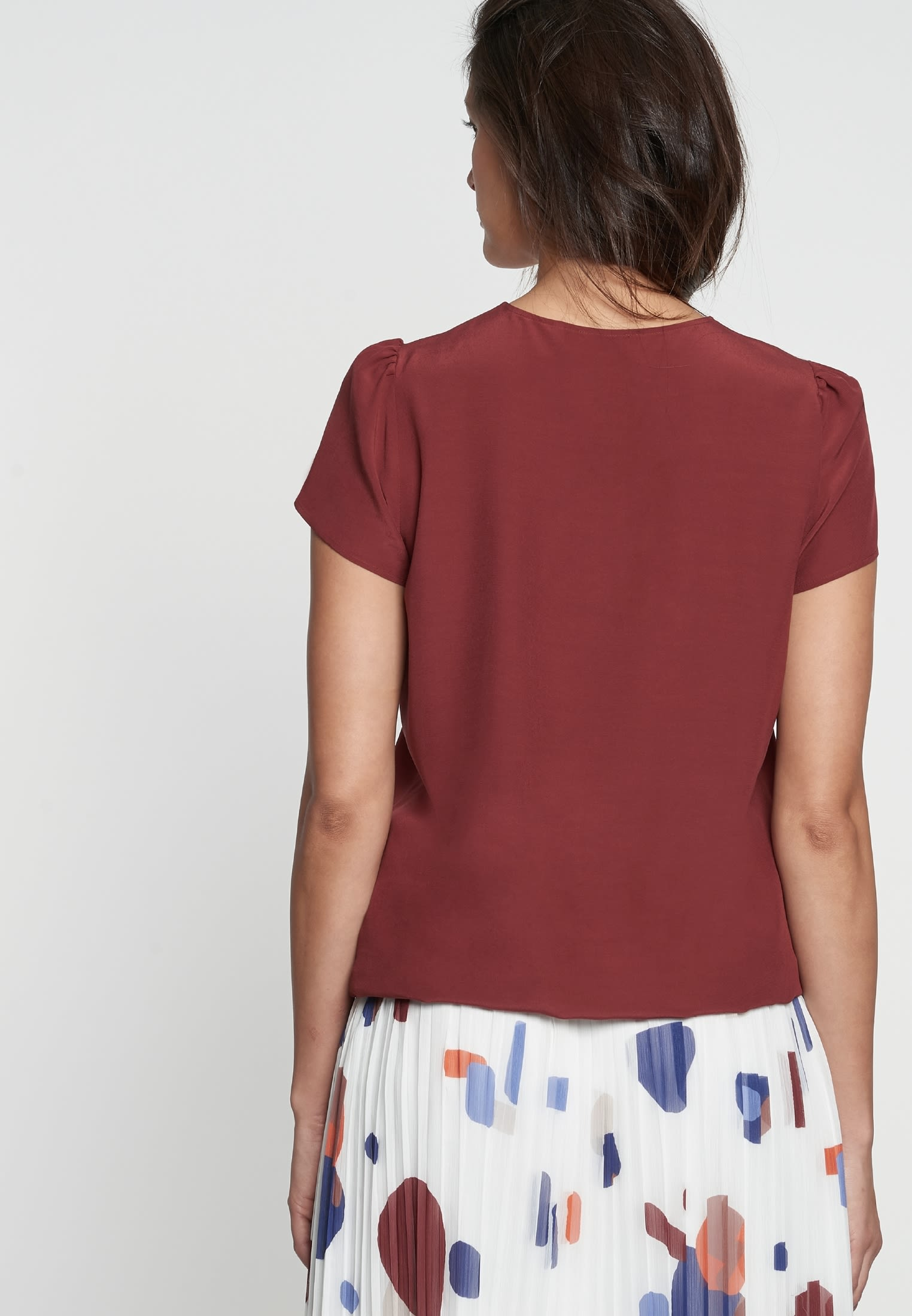 Short sleeve Crepe Shirt Blouse made of 100% Viscose in Brown |  Seidensticker Onlineshop