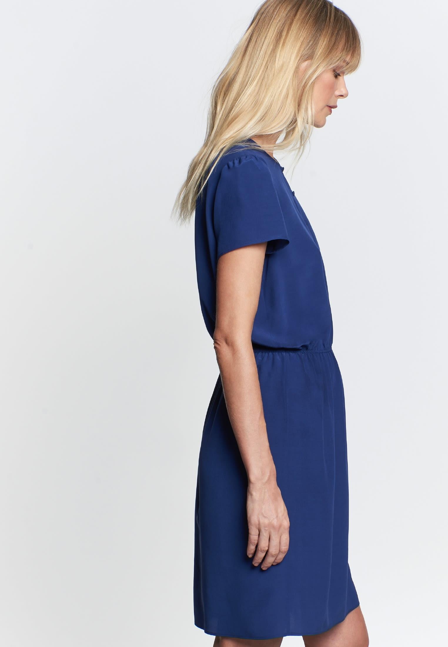 Krepp Midi Kleid aus 100% Viskose in Mittelblau |  Seidensticker Onlineshop