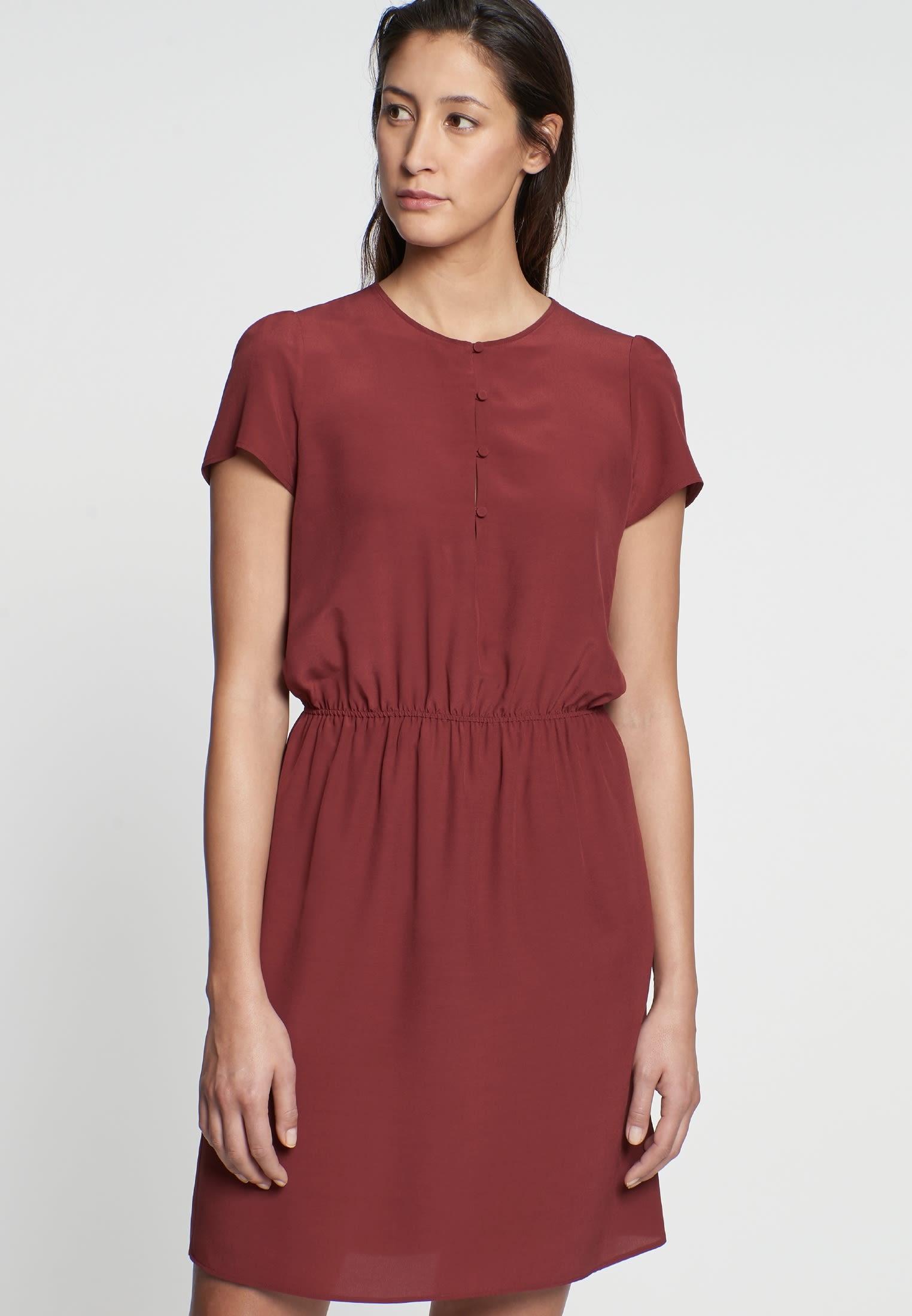 Krepp Midi Kleid aus 100% Viskose in Braun |  Seidensticker Onlineshop