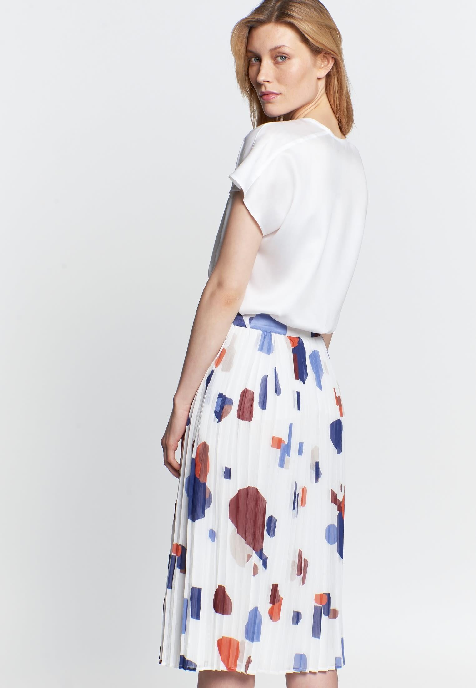 Krepp Midi Rock aus 100% Polyester in Mittelblau |  Seidensticker Onlineshop
