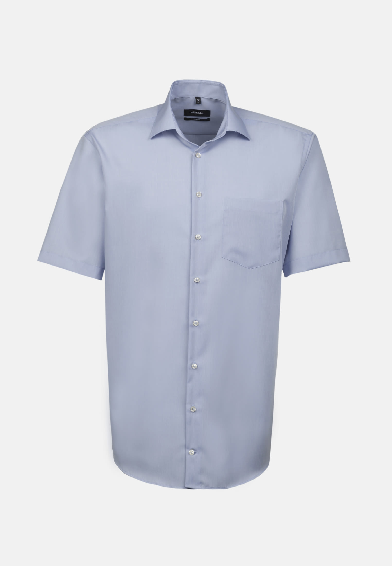 Non-iron Chambray Short arm Business Shirt in Comfort with Kent-Collar in Medium blue |  Seidensticker Onlineshop