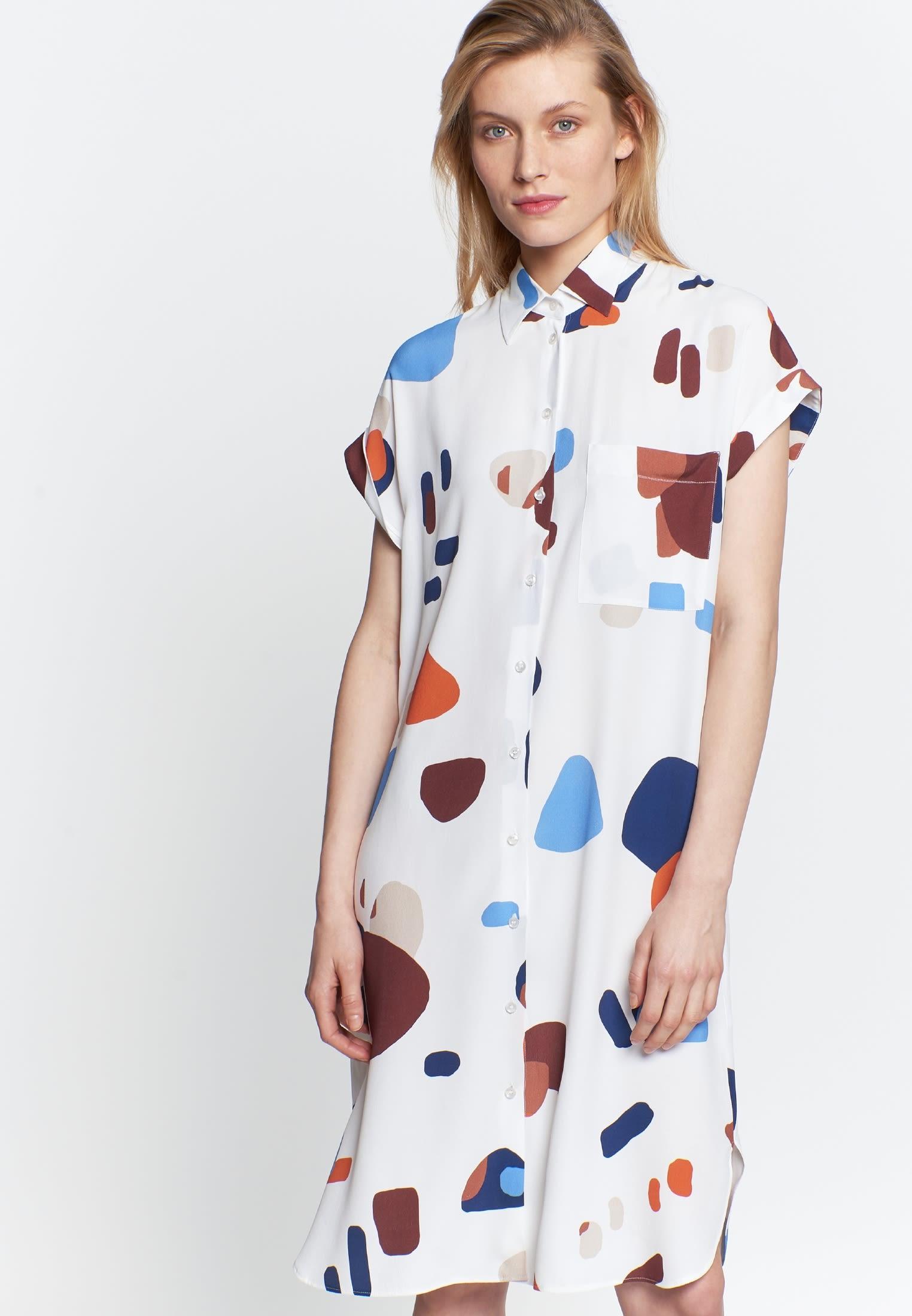 Ärmelloses Krepp Midi Kleid aus 100% Viskose in Mittelblau |  Seidensticker Onlineshop