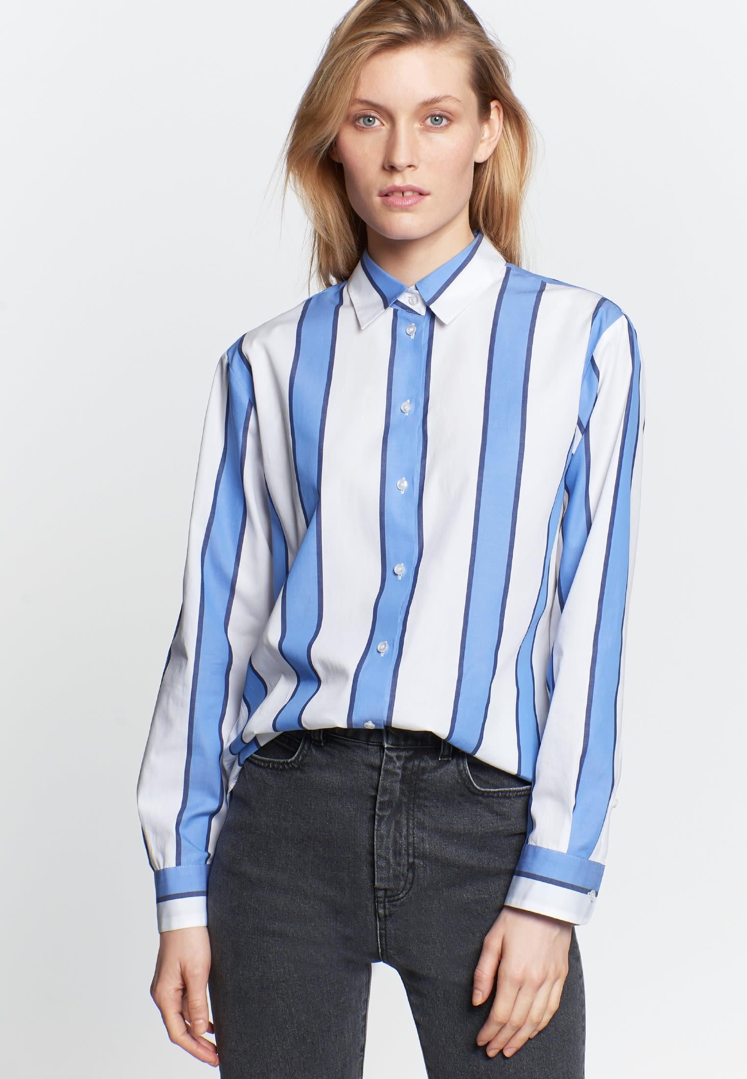 Satin Hemdbluse aus 100% Baumwolle in Mittelblau    Seidensticker Onlineshop