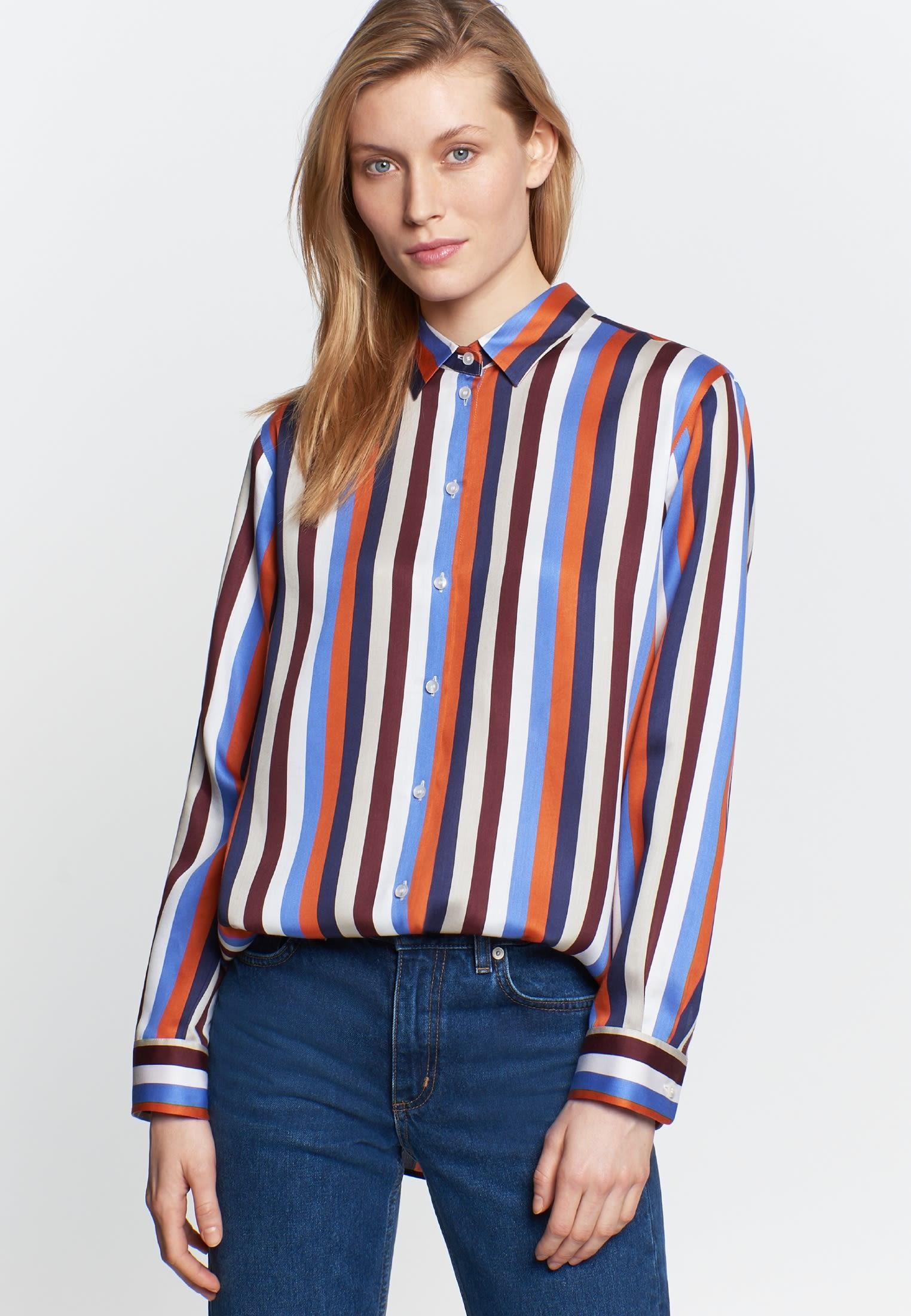 Poplin Shirt Blouse made of 100% Viskose in blau |  Seidensticker Onlineshop